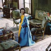 Socialite Lee Radziwill (Blue Cape in Brocade Room. Her blue cape and gold satin dress are by Nina Ricci)