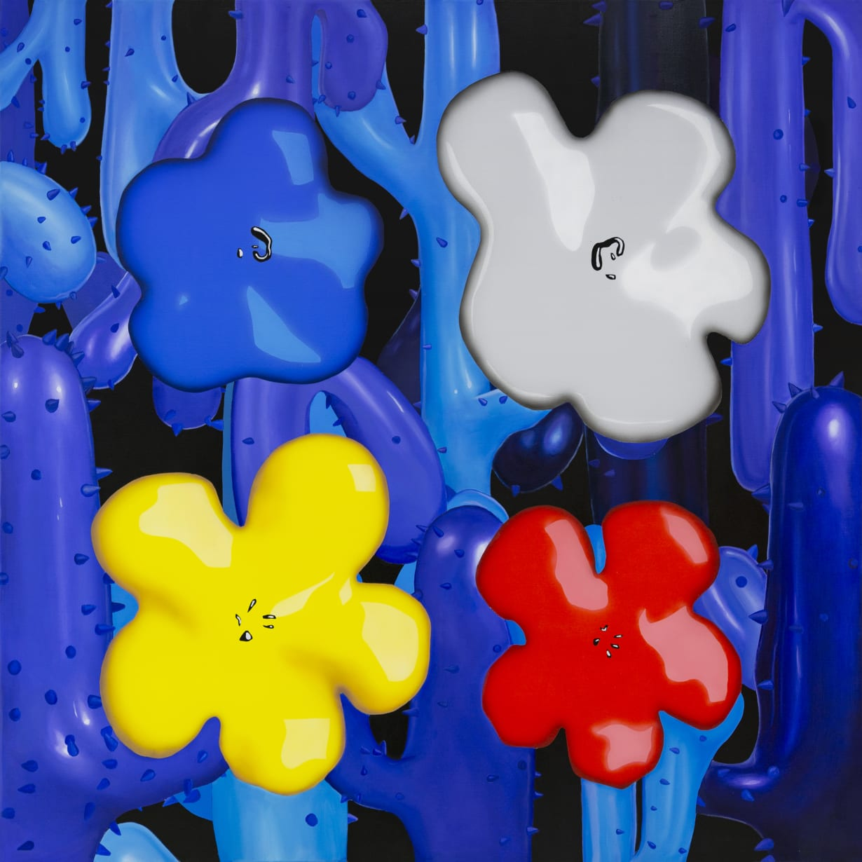 Flower Study from Lobster Land Museum (Blue, White, Yellow Red), 2020Oil and acrylic on canvas120 cm x 120 cm ENQUIRE