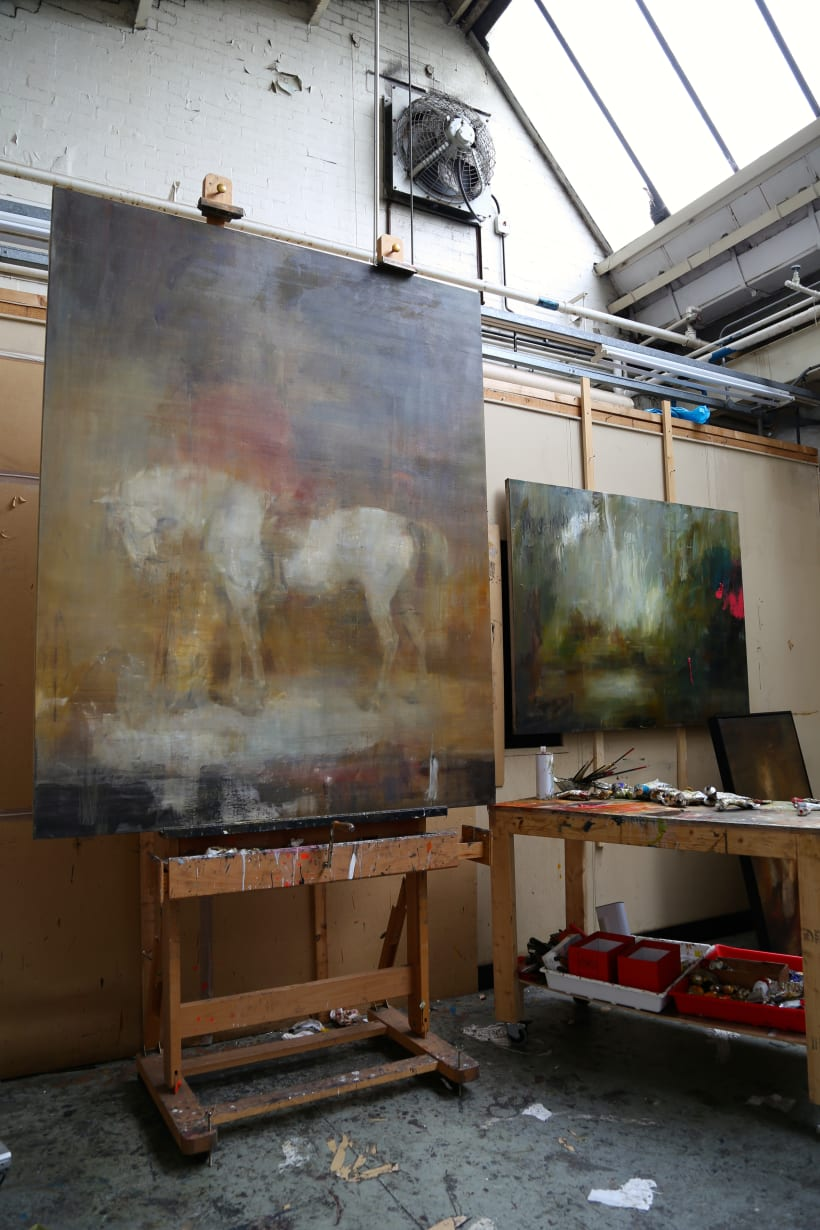 Easel Shot White Horse In A Stable After Sir Edwin Henry Landseer