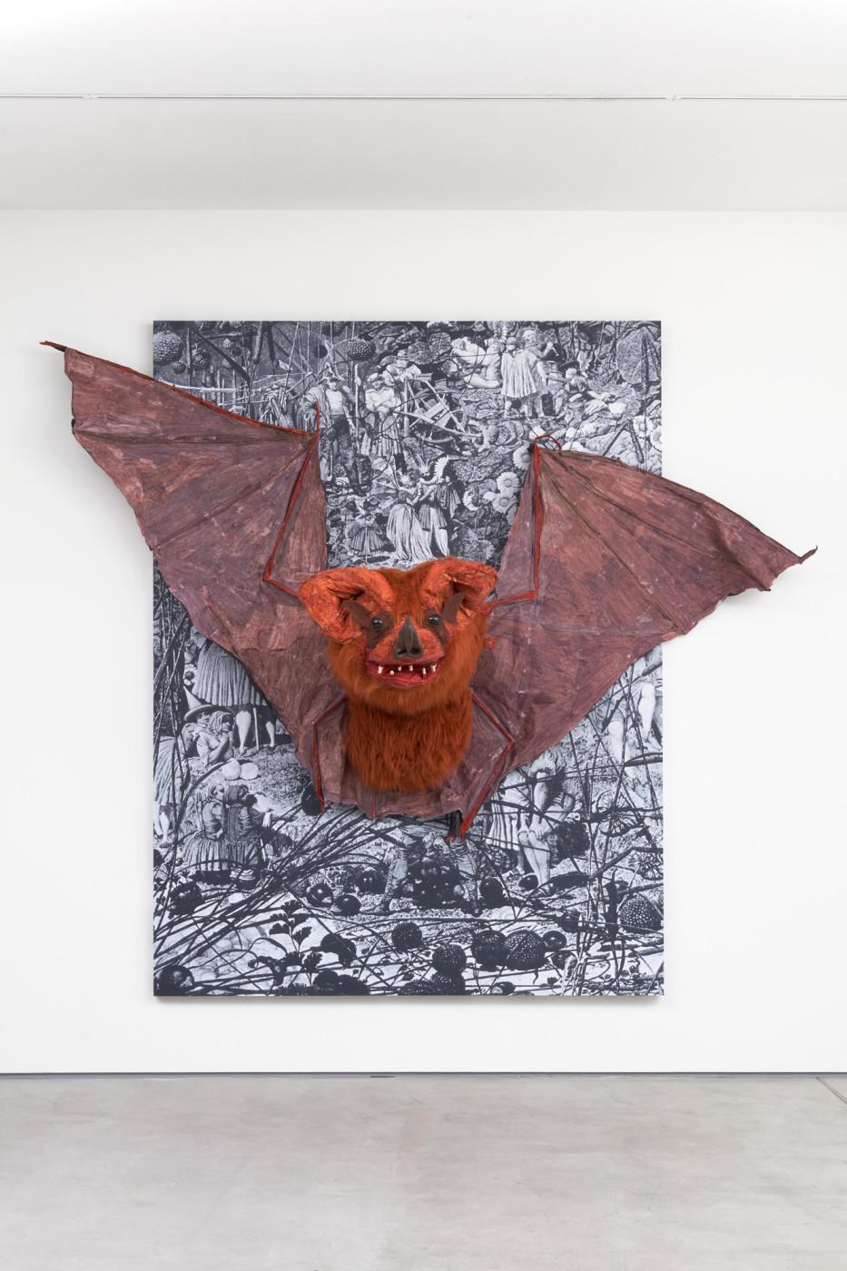 "<div class=""artwork_caption""><div class=""title""><em>Bat</em>, 2018</div><div class=""medium"">photocopies, wood, latex, fabric, paint</div><div class=""dimensions"">280 x 319 x 106 cm</div><div class=""dimensions"">110 ¼ x 125 ⅝ x 41 ¾ in.</div></div>"