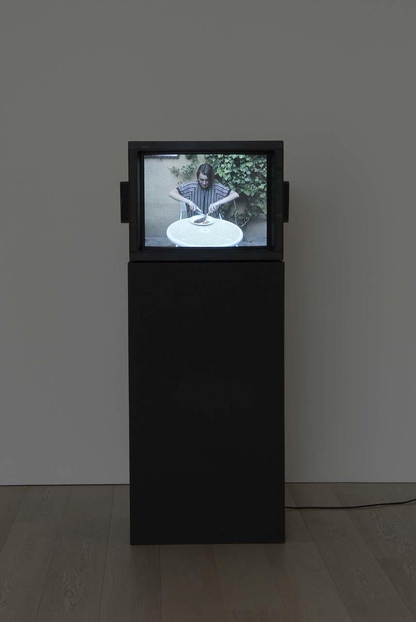 <p>Installation View, Sarah Lucas, <em>Sausage Film</em>, 1990</p>