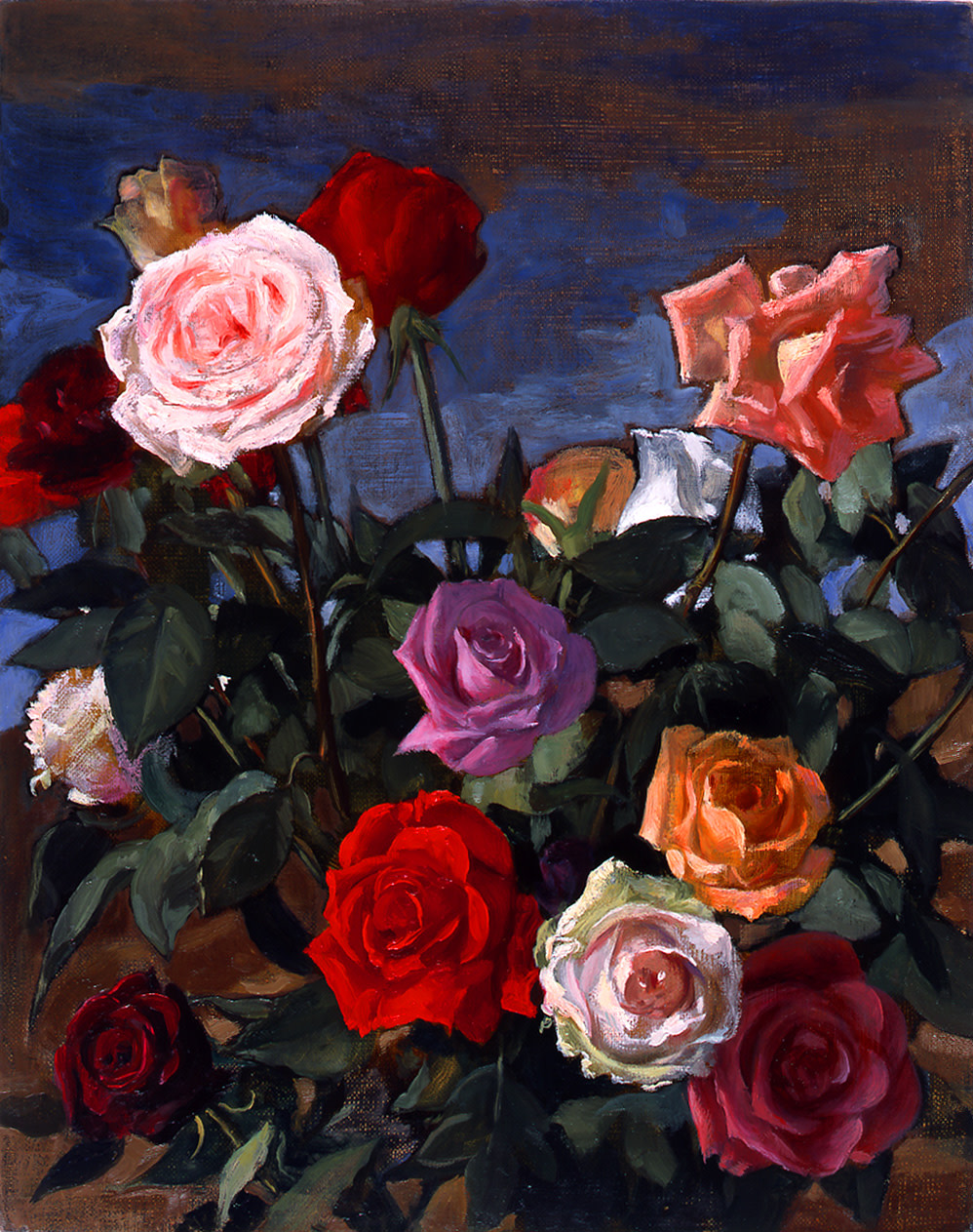 "<div class=""title""><em>Rosebush</em>, 2003</div><div class=""signed_and_dated"">signed and dated</div><div class=""medium"">oil on canvas</div><div class=""dimensions"">61.5 x 52.0 x 2.5 cm<br />24 3/16 x 20 7/16 x 0 15/16 in.</div>"