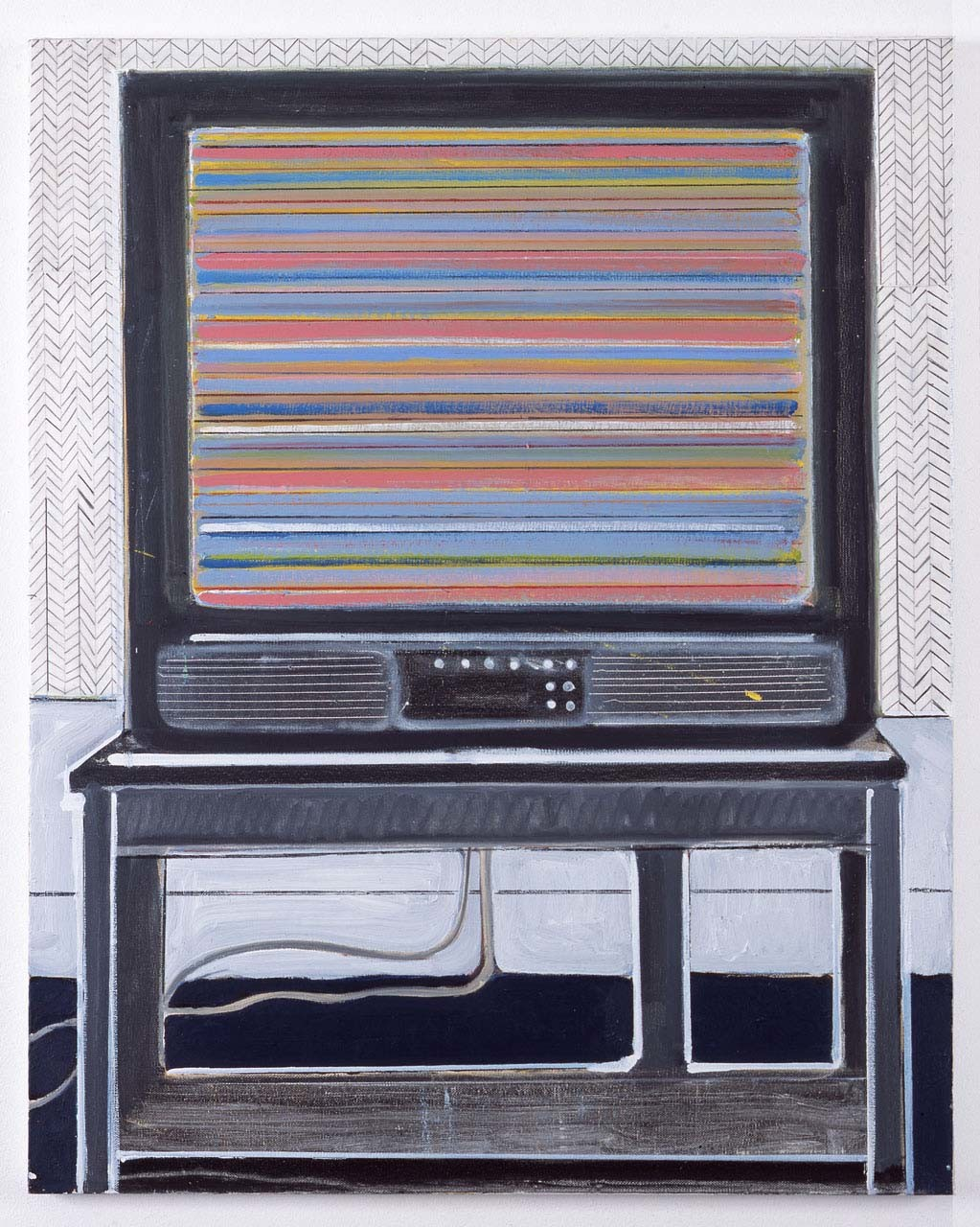 "<div class=""artwork_caption""><p>Television with Herringbone Wallpaper, 2010</p></div>"