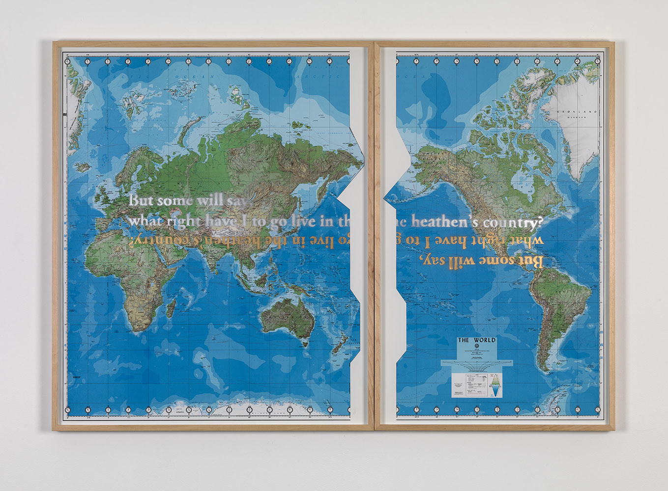 "<div class=""title""><em>The World (Defense Mapping Agency)</em>, 2010</div><div class=""medium"">spray enamel on map</div><div class=""dimensions"">left: 107.6 x 88.3 x 4.7 cm / 42 ⅜ x 34 ¾ x 1 ⅞ in<br />right: 107.6 x 66.2 x 4.7 cm / 42 ⅜ x 26 ⅛ x ⅞ in</div>"