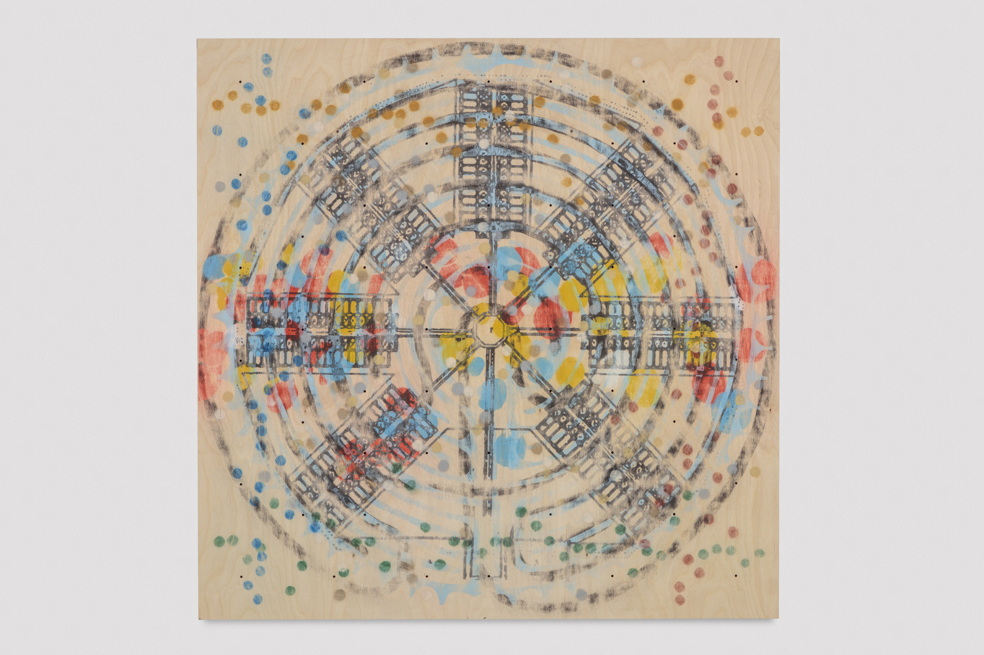 "<div class=""title""><em>Prison Memorial Labyrinth Complex</em>, 2016</div><div class=""signed_and_dated"">signed and dated on verso</div><div class=""medium"">metal, digital print on birch plywood</div><div class=""dimensions"">119.5 x 119.5 x 2.5 cm<br />47 x 47 x 1 in.</div>"
