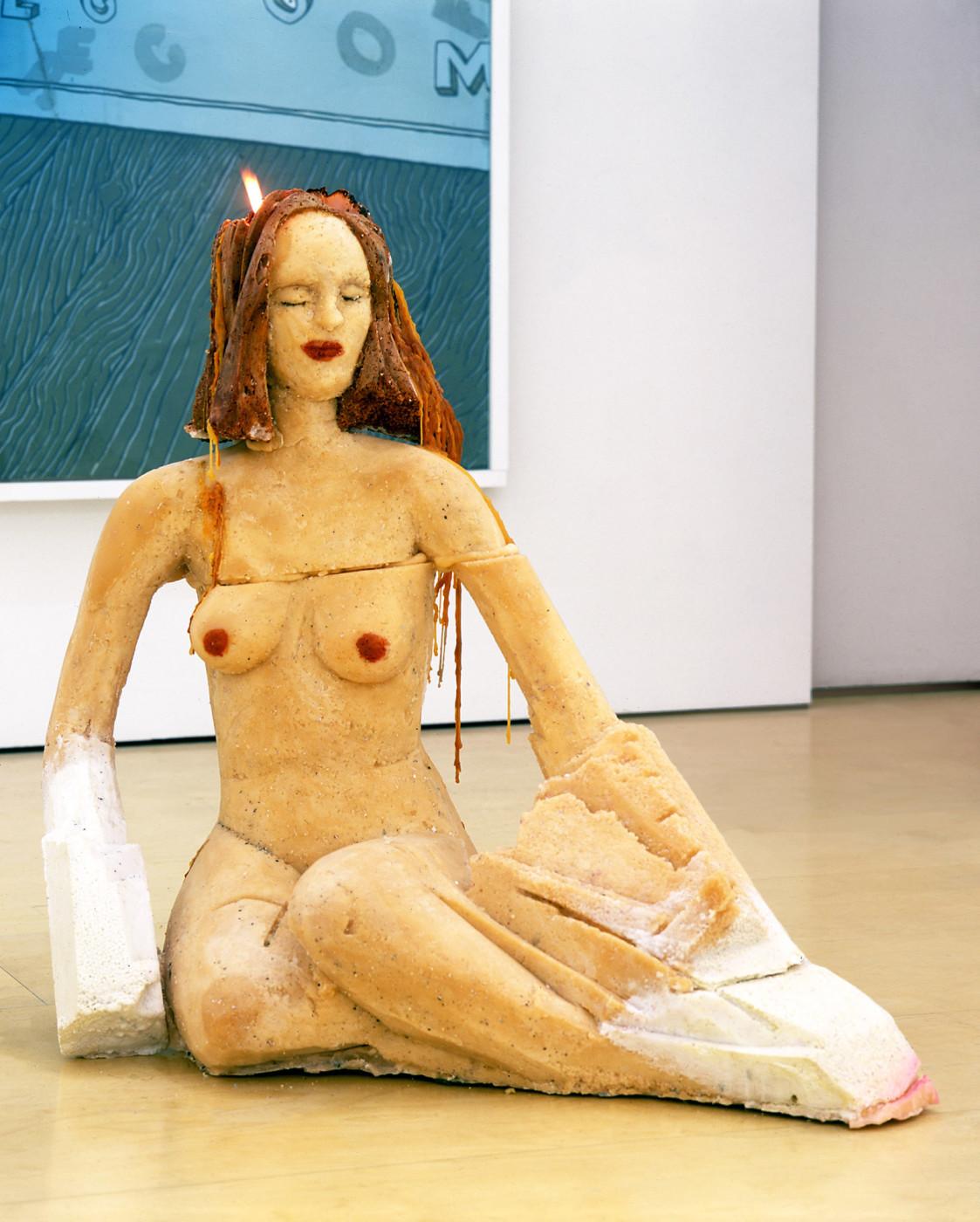 "<div class=""title""><em>What if the phone rings</em>, 2003</div><div class=""medium"">pigment, wax, wick</div>"