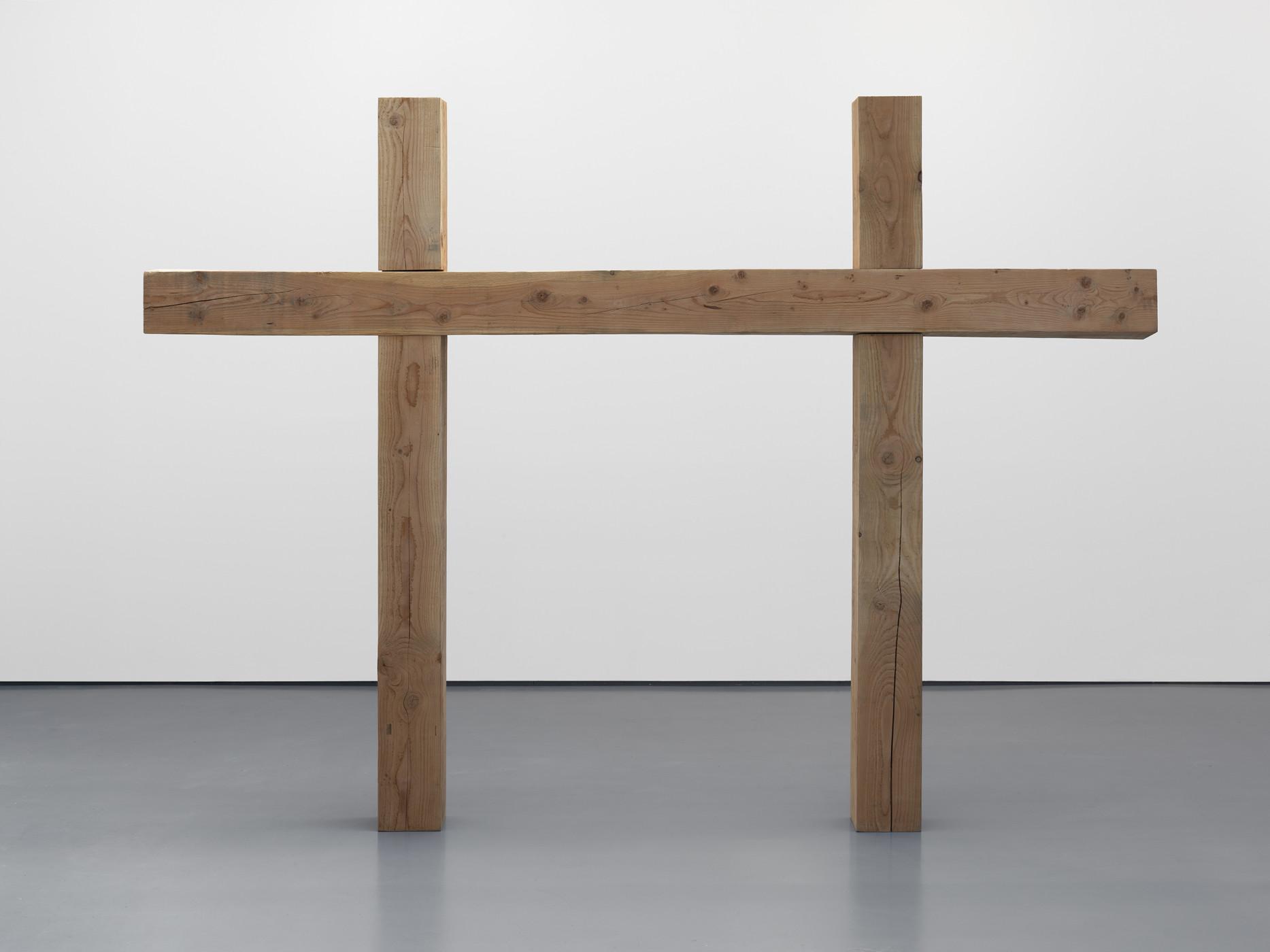 "<div class=""title""><em>Crucifix for Two</em>, 2010</div><div class=""medium"">Douglas fir</div><div class=""dimensions"">205.0 x 280.5 x 18.2 cm<br />80 3/4 x 110 3/8 x 7 1/8 in.</div>"