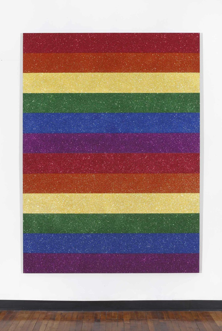 "<div class=""title""><em>Double Rainbow Flag for Jasper in the Style of the Artists Boyfriend</em>, 2013</div><div class=""signed_and_dated"">signed and dated on verso</div><div class=""medium"">glitter and enamel on canvas</div><div class=""dimensions"">249.6 x 183.5 cm<br />98 1/4 x 72 1/4 in.</div>"