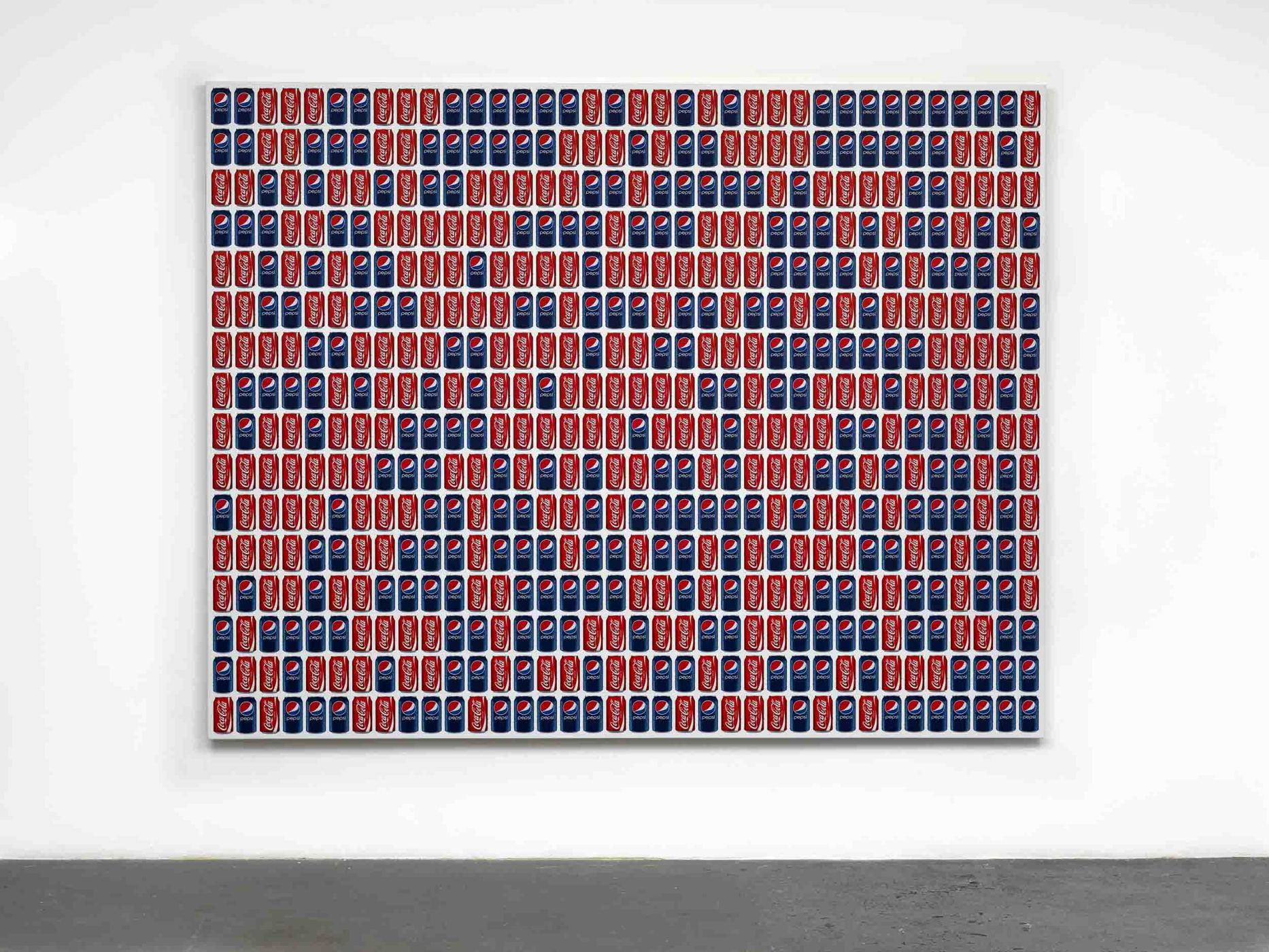 "<div class=""title""><em>Coke/Pepsi</em>, 2013</div><div class=""medium"">UV ink on vinyl</div><div class=""dimensions"">216.0 x 272.0 x 4.0 cm<br />85 x 107 1/16 x 1 9/16 in.</div>"
