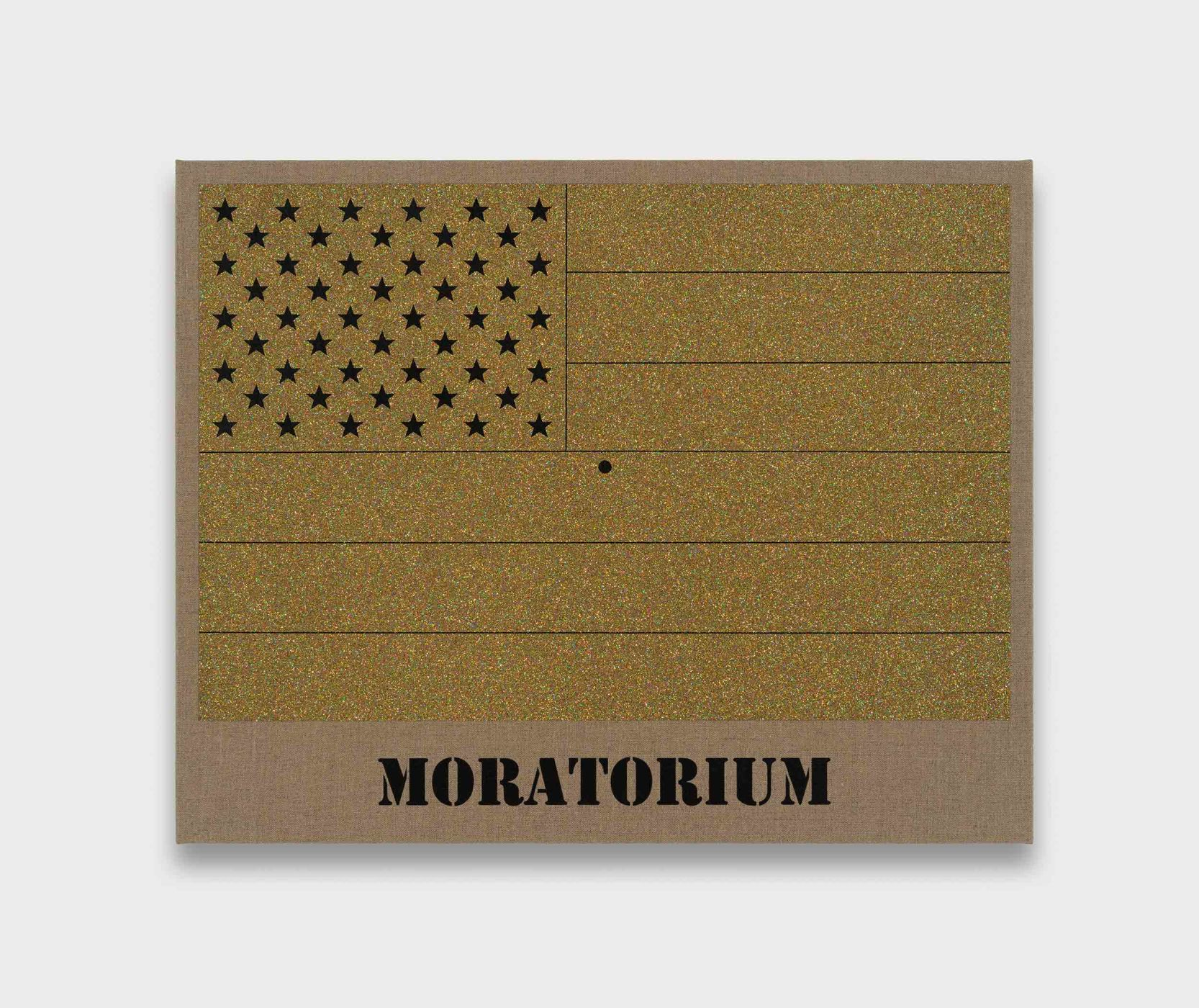 "<div class=""title""><em>Moratorium (Gold Rainbow American Flag for Jasper in the Style of the Artist's Boyfriend)</em>, 2017</div><div class=""medium"">glitter and enamel on linen</div><div class=""dimensions"">57.0 x 71.5 x 3.5 cm<br />22 3/8 x 28 1/8 x 1 3/8 in.</div>"