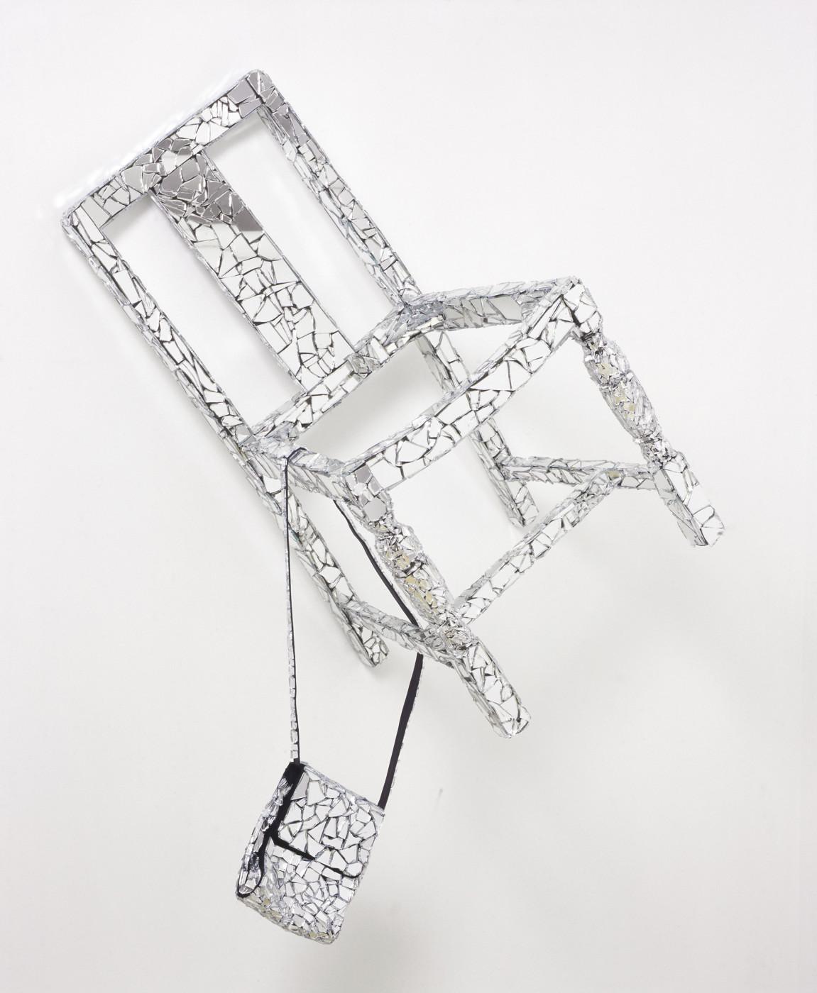 "<div class=""title""><em>Danceteria VI</em>, 2006</div><div class=""medium"">broken mirror, chair, handbag, glue</div><div class=""dimensions"">128.0 x 84.0 x 48.0 cm<br />50 3/8 x 33 1/8 x 18 7/8 in.</div>"