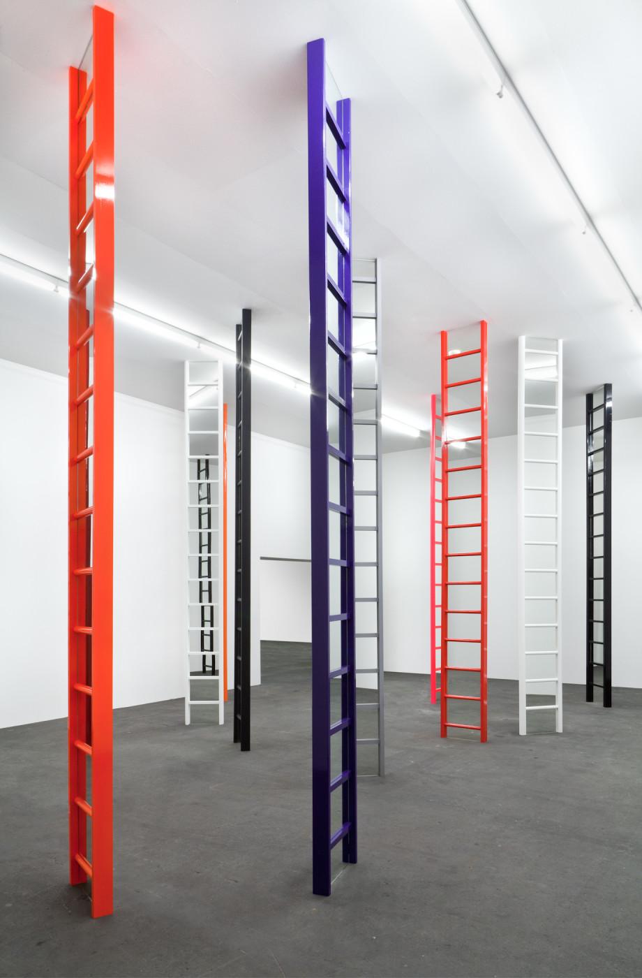 """<div class=""""title""""><em>Shaved Ice (Glasgow)</em>, 2012-2014</div><div class=""""medium"""">eighteen wooden ladders, mirrors, household matt, gloss and fluorescent paint</div><div class=""""dimensions"""">height, each: 392 cm / 154 ⅜ in</div>"""