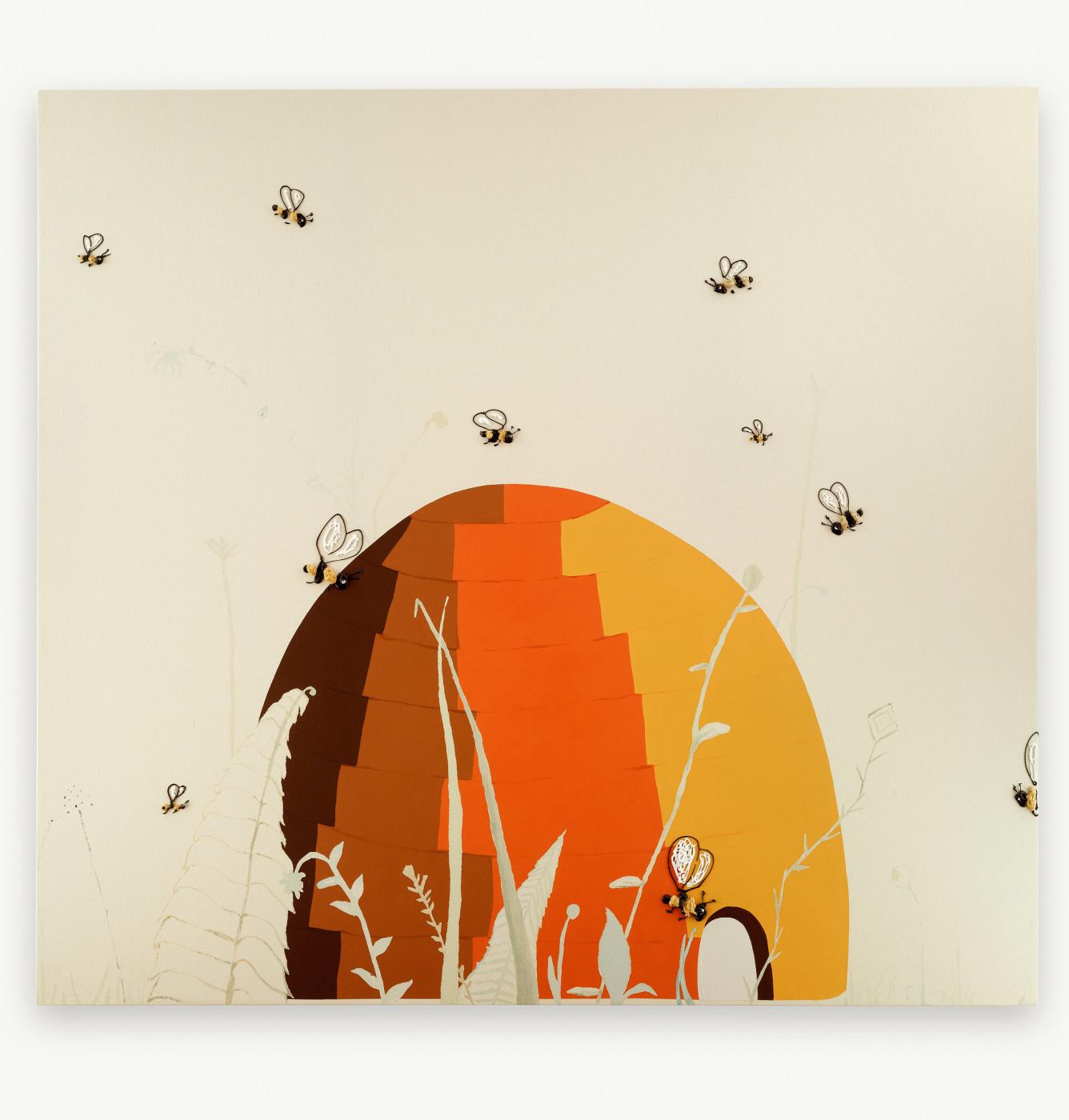 "<div class=""title""><em>Untitled (bee #2)</em>, 1998</div><div class=""medium"">acrylic on canvas</div><div class=""dimensions"">182.88 x 169.55 x 5.08 cm<br />72 x 66 3/4 x 2 in.</div>"