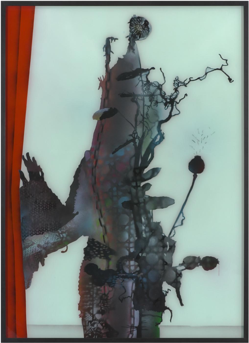 """<div class=""""artwork_caption""""><div class=""""title""""><em>Neighbourhood Witch (red curtain)</em>, 2007</div><div class=""""medium"""">spray paint on glass</div><div class=""""dimensions"""">163.5 x 118.5 cm<br />64 3/8 x 46 5/8 in.</div></div>"""