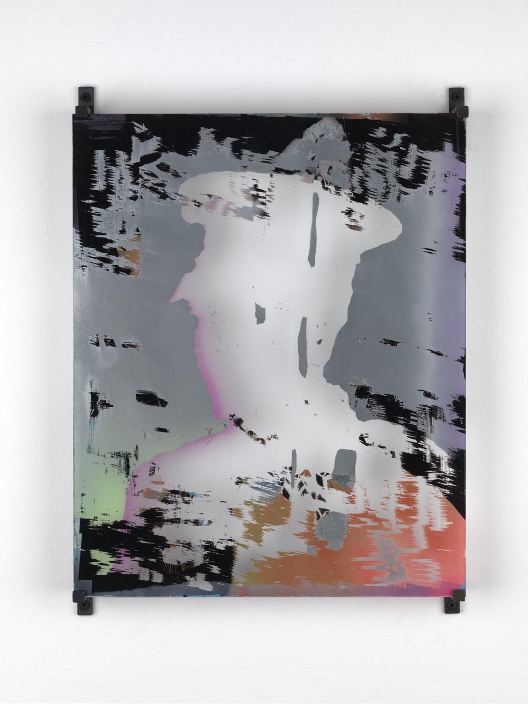 """<div class=""""artwork_caption""""><div class=""""title""""><em>Untitled</em>, 2011</div><div class=""""medium"""">4mm glass enamel spray paint and silver</div><div class=""""dimensions"""">50.0 x 40.0 cm<br />19 5/8 x 15 3/4 in.</div></div>"""