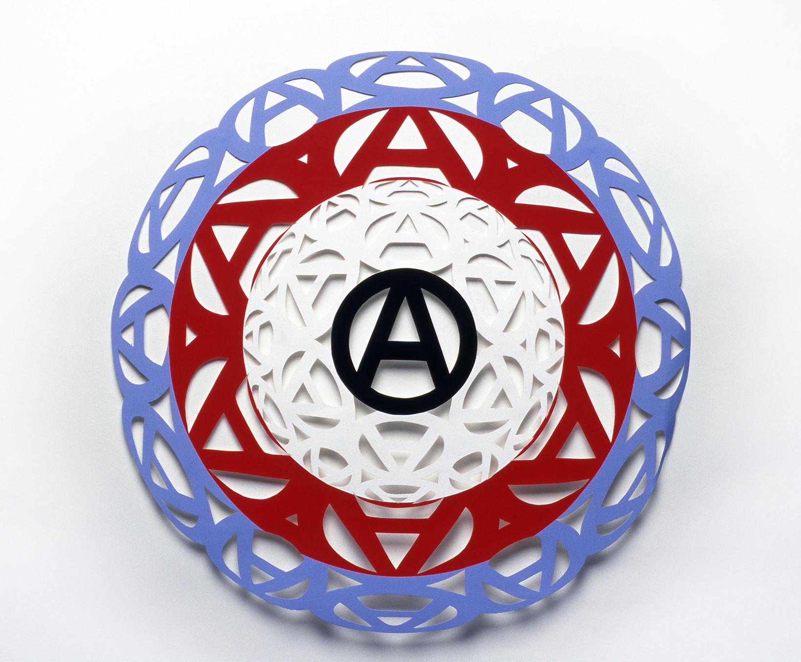 """<div class=""""artwork_caption""""><div class=""""title""""><em>Anarchy Target III</em>, 1999</div><div class=""""medium"""">blue, red, white and black paper</div><div class=""""dimensions"""">diameter: 20 in / 51 cm</div></div>"""