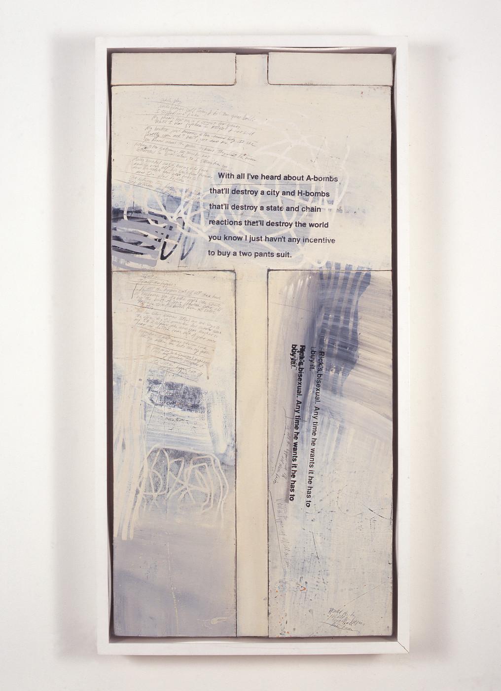 "<div class=""title""><em>Untitled [Protest Painting]</em>, 1992</div><div class=""medium"">oil on canvas</div><div class=""dimensions"">102.87 x 52.07 cm<br />40 1/2 x 20 1/2 in.</div>"
