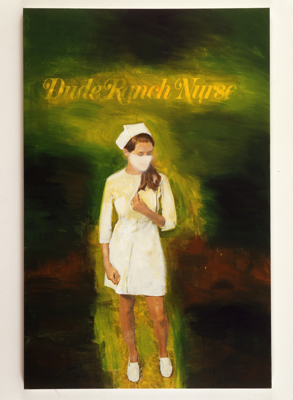 """<div class=""""title""""><em>Dude Ranch Nurse</em>, 2002</div><div class=""""signed_and_dated"""">signed on verso with date and title</div><div class=""""medium"""">ink jet print and acrylic on canvas</div><div class=""""dimensions"""">203.2 x 132.1 cm<br />80 x 52 in.</div>"""