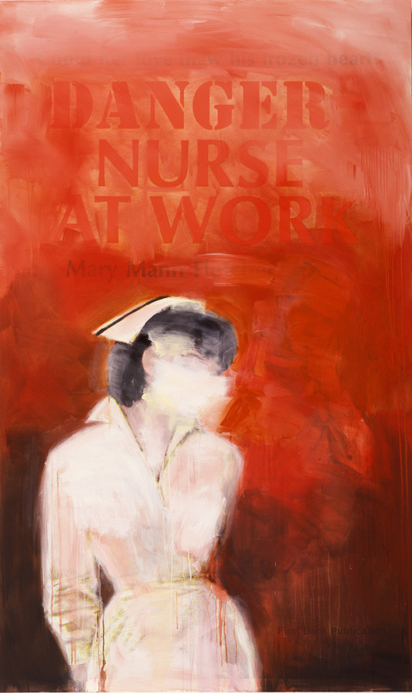"""<div class=""""title""""><em>Danger Nurse at Work</em>, 2002</div><div class=""""signed_and_dated"""">signed on verso with date and title</div><div class=""""medium"""">ink jet print and acrylic on canvas</div><div class=""""dimensions"""">236.22 x 142.24 cm<br />93 x 56 in.</div>"""