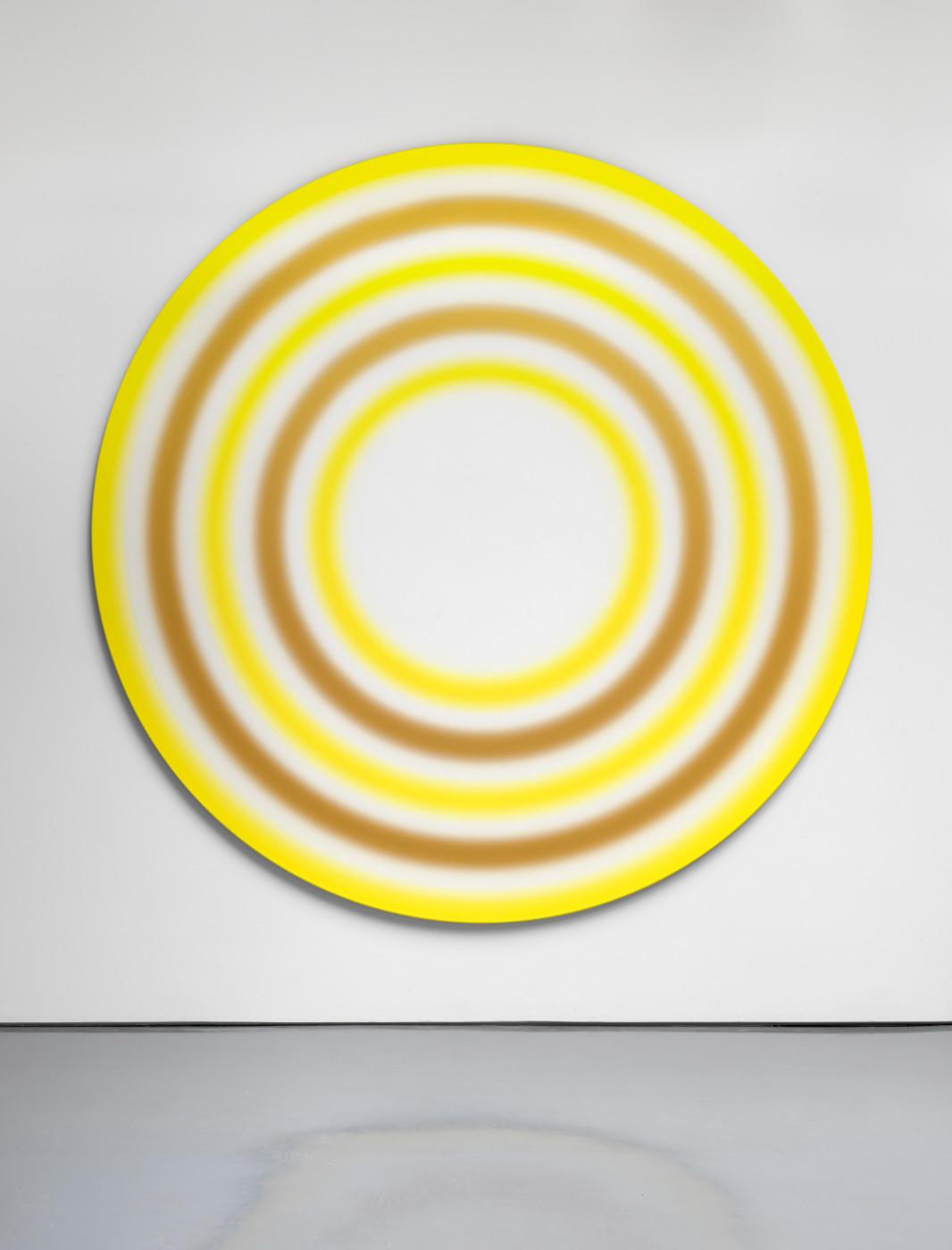 "<div class=""title""><em>ACHTZEHNTERJULIZWEITAUSENDUNDZWÖLF</em>, 2012</div><div class=""medium"">acrylic on canvas, plexiglass plaque with caption</div><div class=""dimensions"">diam: 270 cm / 106 ¼ in<br />depth: 3.2 cm / 1 ¼ in</div>"