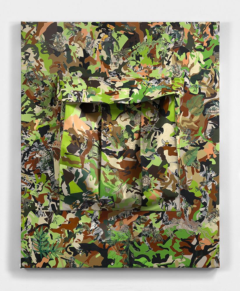 "<div class=""title""><em>Camo Cargo Pocket</em>, 2016</div><div class=""medium"">vinyl, heat applied t-shirt graphic on canvas, embroidery</div><div class=""dimensions"">187.8 x 152.0 x 153.0 cm<br />73 7/8 x 59 3/4 x 60 1/8 in.</div>"