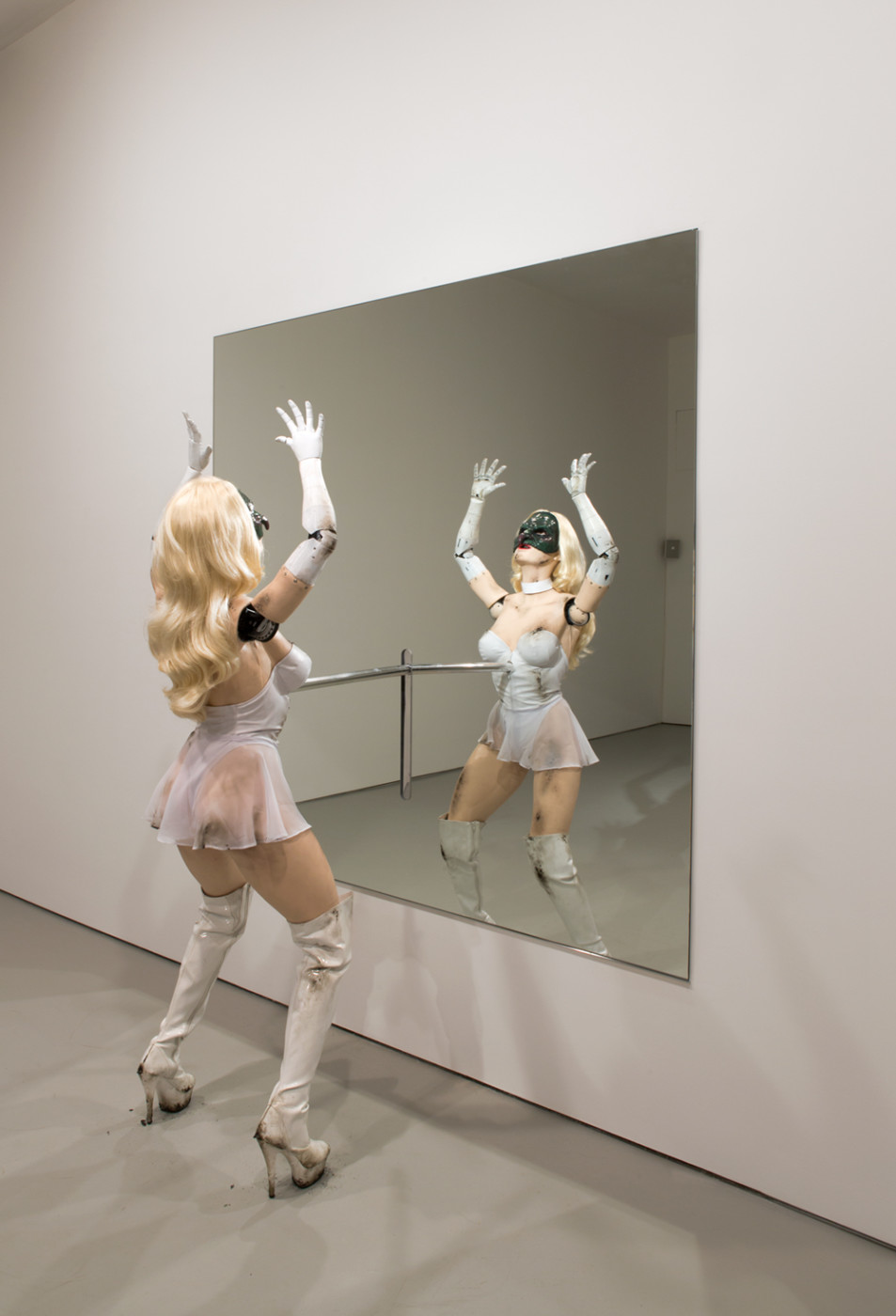 <p><em>Female figure</em>, 2014</p><p>Mixed media</p><p>Overall: 90 1/2 x 72 x 29 inches 229.9 x 182.9 x 73.7 cm</p><p>Height of sculpture ranges from 55 to 73 inches /139.7 to 185.4 cm</p><p>Length of sculpture ranges from 24 1/2 to 48 inches / 62.2 to 121.9 cm</p><p>Depth of sculpture ranges from 29 to 39 inches / 73.7 to 99.1 cm</p><p>Mirror: 72 x 72 inches / 182.9 x 182.9 cm</p>