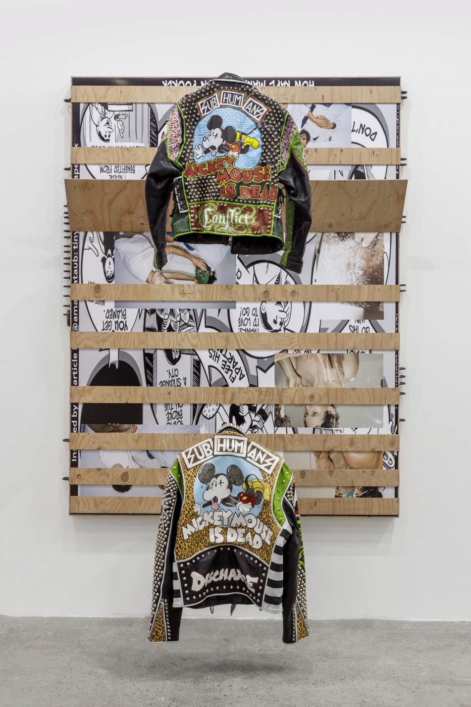 "<div class=""title""><em>Untitled</em>, 2017</div><div class=""medium"">Birch plywood, inkjet print mounted on dibond, aluminum, black oxide U-bolts, leather jackets</div><div class=""dimensions"">With Jacket Hangers:<br />202.6 x 161.3 x 70.5 cm<br />79 3/4 x 63 1/2 x 27 3/4 in.<br /><br />Without Jacket Hangers:<br />202.6 x 161.3 x 26.7 cm<br />79 3/4 x 63 1/2 x 10 1/2 in.</div>"