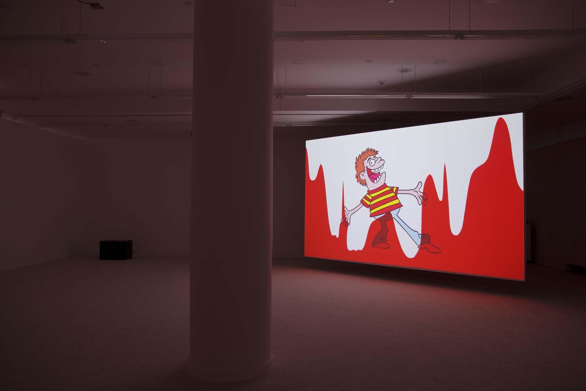 """<div class=""""title""""><em>Raspberry Poser</em>, 2012 (installation view)</div><div class=""""medium"""">digital video with CGI and hand drawn animation</div><div class=""""dimensions"""">duration 13 min, 55 sec</div>"""
