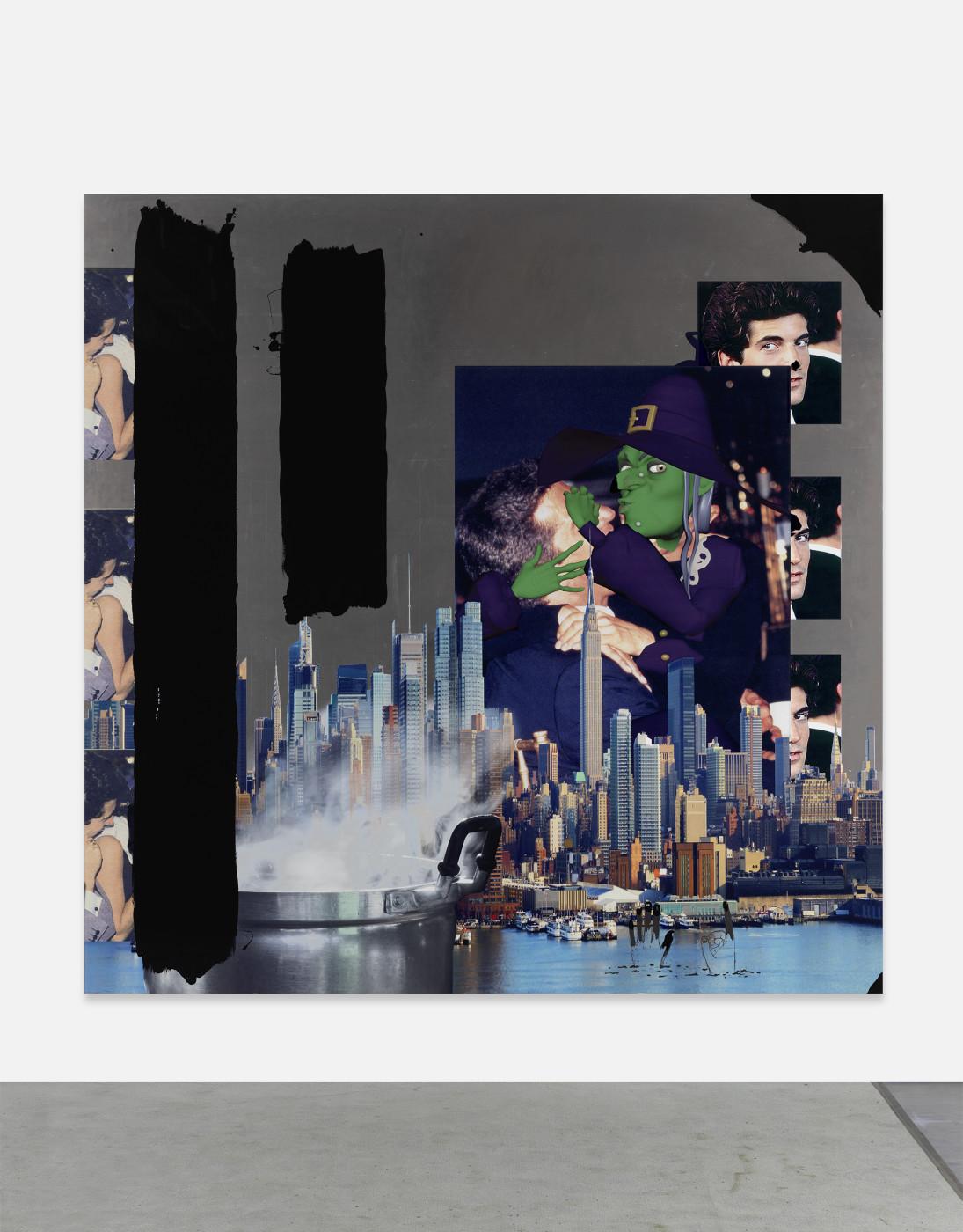 "<p><em>Untitled,</em> 2018<br />aluminum panel, 1/2"" hot rolled steel cleats, UV printed inks, gloss varnish, oil based gloss black enamel, black marker<br />213.4 x 213.4 x 2.2 cm / 84 x 84 x ⅞ in</p>"
