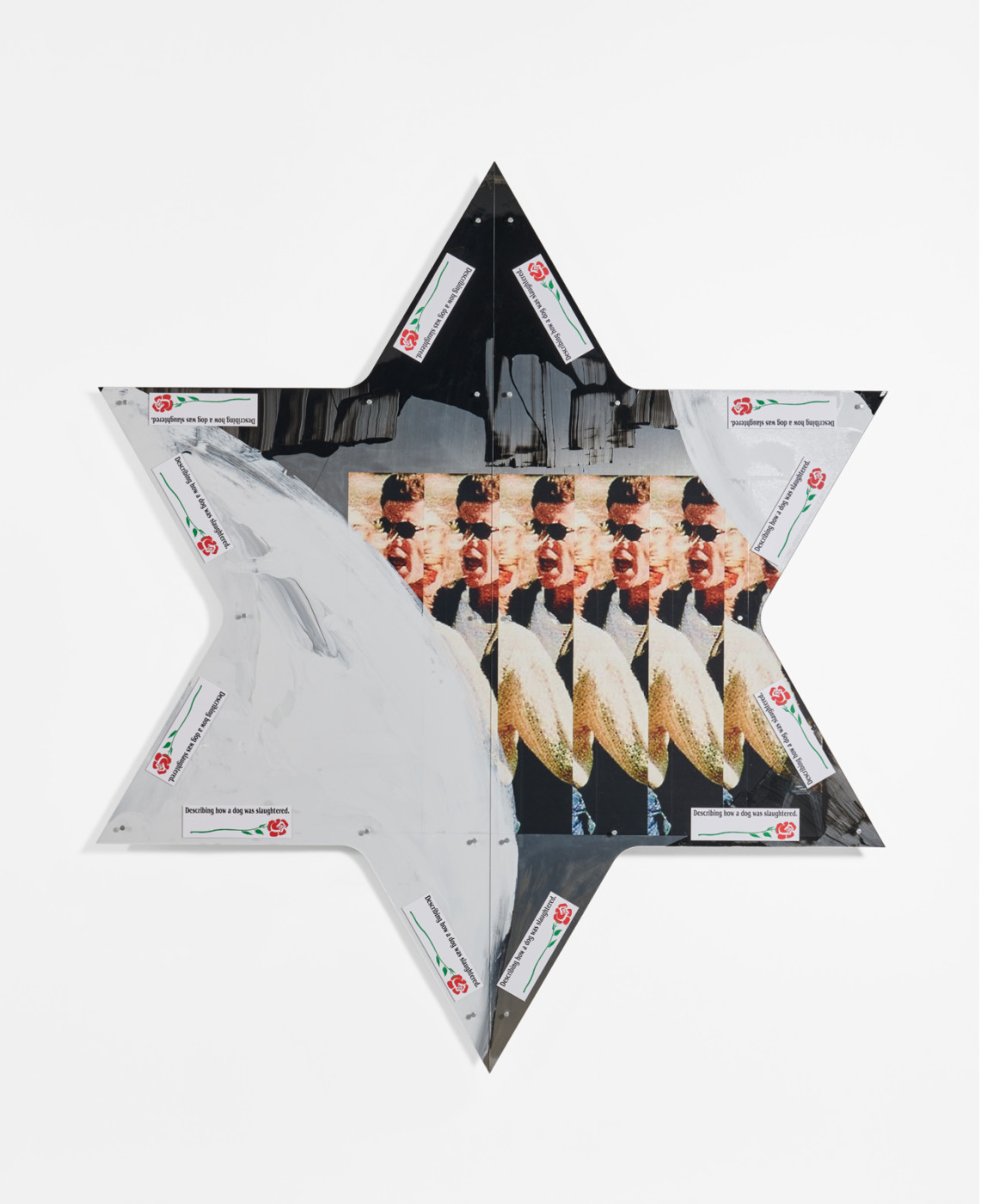 "<div class=""artwork_caption""><p><em>Untitled</em>, 2019<br />adhesive print with gloss coat and enamel on aluminium panel, acrylic plexi, bumper stickers<br />213.8 x 185.1 cm / 84 ¼ x 72 ⅞ in</p></div>"