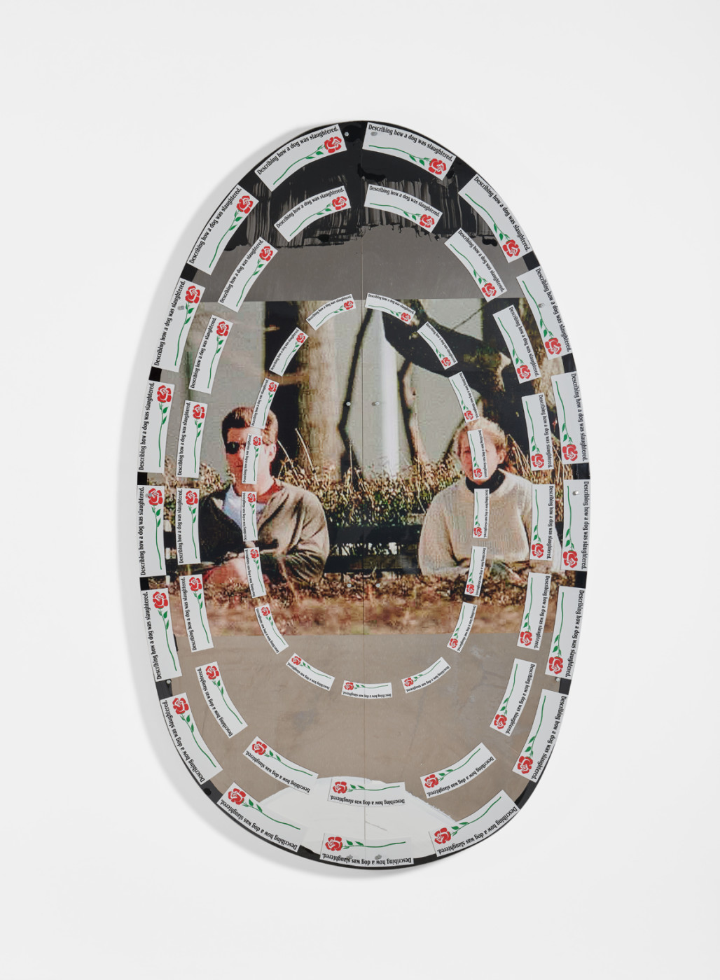 "<div class=""artwork_caption""><p><em>Untitled,</em> 2019<br />adhesive paint with gloss coat and enamel on aluminium panel, acrylic plexi<br />209.6 x 126.8 cm / 82 ½ x 49 ⅞ in</p></div>"