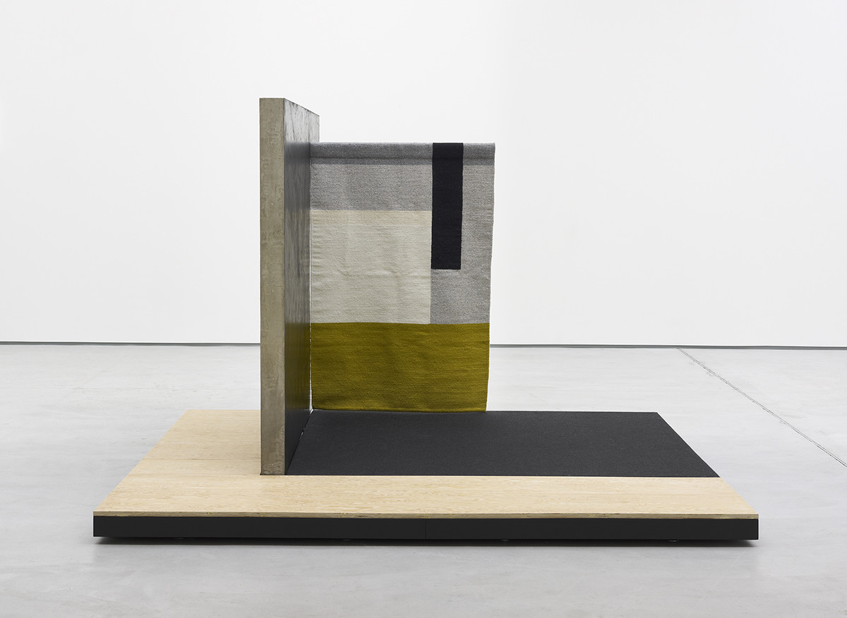 "<div class=""title""><em>Planar Pavilion</em>, 2014</div><div class=""medium"">fir plywood, felt, wool, concrete, powder coated steel, stucco, acrylic</div><div class=""dimensions"">164 x 274 x 239.5 cm / 64 ½ x 107 ¾ x 94 ¼ in</div>"