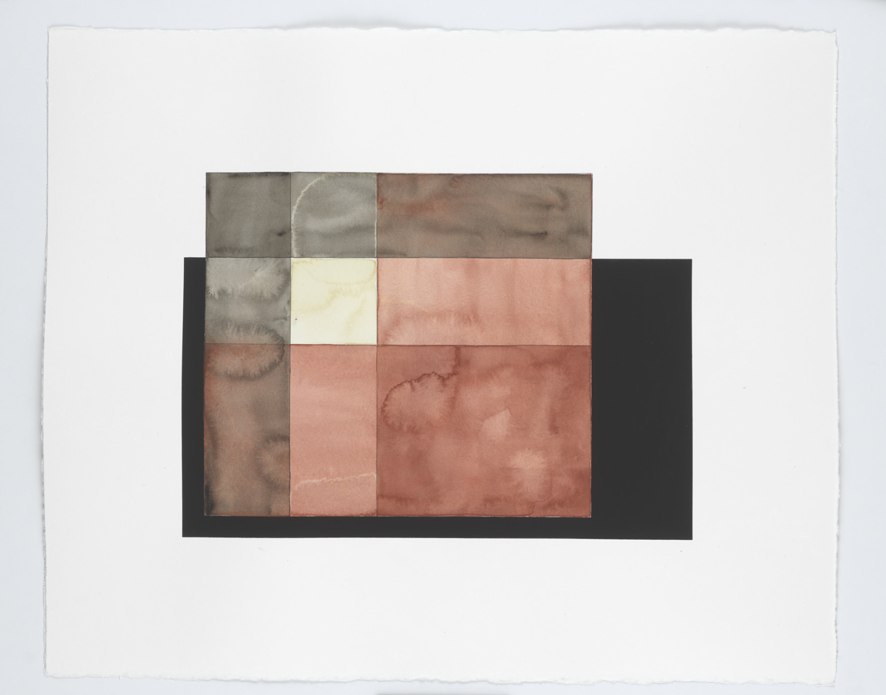"<p><em>Warp and Weft Study (rust, white and black)</em>, 2013</p><div class=""medium"">watercolour and gouache on paper</div><div class=""dimensions"">63.6 x 75.9 x 3.4 cm</div><div class=""dimensions"">25 ⅛ x 29 ⅞ x 1 ⅜ in.</div>"