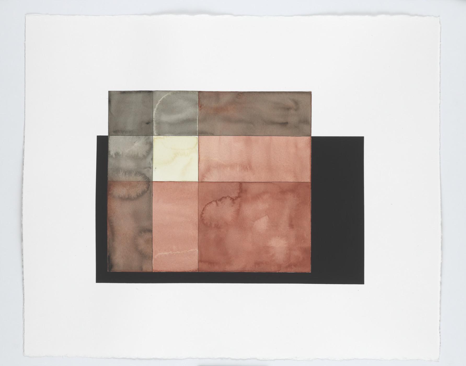 "<p><em>Warp and Weft Study (rust, white and black)</em>, 2013</p><div class=""medium"">watercolour and gouache on paper</div><div class=""dimensions"">63.6 x 75.9 x 3.4 cm</div><div class=""dimensions"">25 ⅛ x 29 ⅞ x 1 ⅜ in.</div>"
