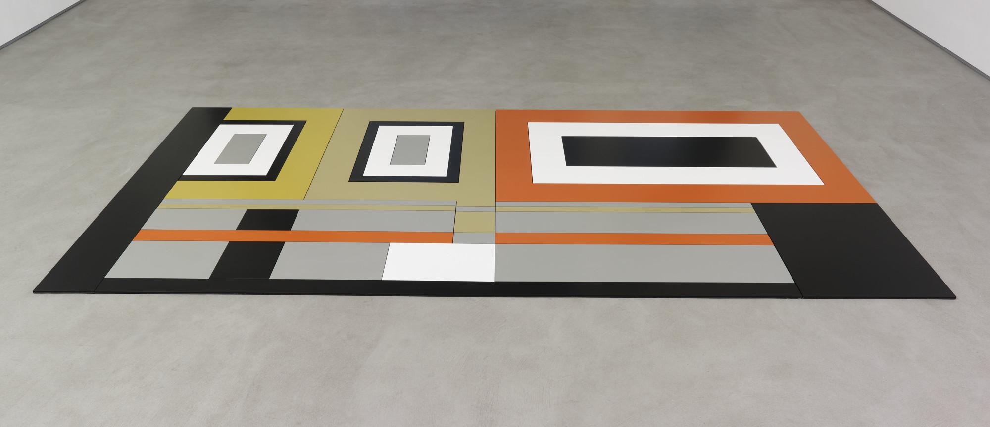 """<div class=""""artwork_caption""""><div class=""""title""""><em>Hard Carpet #1</em>, 2014</div><div class=""""medium"""">metal, powder coated aluminium</div><div class=""""dimensions"""">1 x 304.8 x 152.4 cm</div><div class=""""dimensions"""">⅜ x 120 x 60 in.</div></div>"""