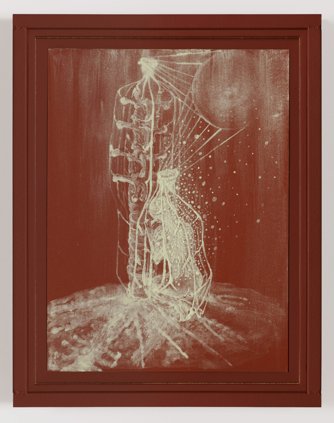 """<div class=""""title""""><em>RIVER ROUGE: Raising of Djed</em>, 2011</div><div class=""""signed_and_dated"""">engraved signature and date on verso</div><div class=""""medium"""">sulfur on paper in painted steel frame</div><div class=""""dimensions"""">36.5 x 28.6 x 3.8 cm<br />14 3/8 x 11 1/4 x 1 1/2 in.</div>"""