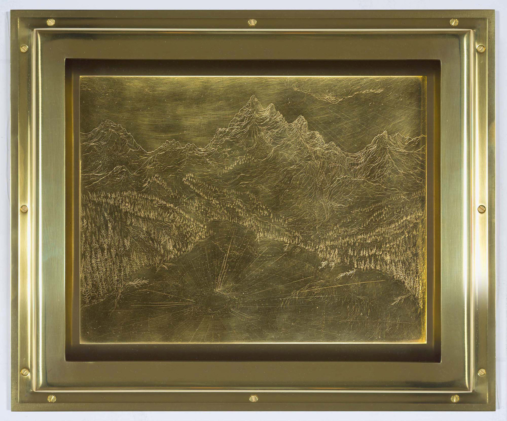 """<div class=""""title""""><em>River of Fundament: Sawtooth National Monument</em>, 2014</div><div class=""""signed_and_dated"""">signed on verso</div><div class=""""medium"""">engraved brass in brass frame</div><div class=""""dimensions"""">31.1 x 37.5 x 3.8 cm<br />12 3/16 x 14 3/4 x 1 7/16 in.</div>"""