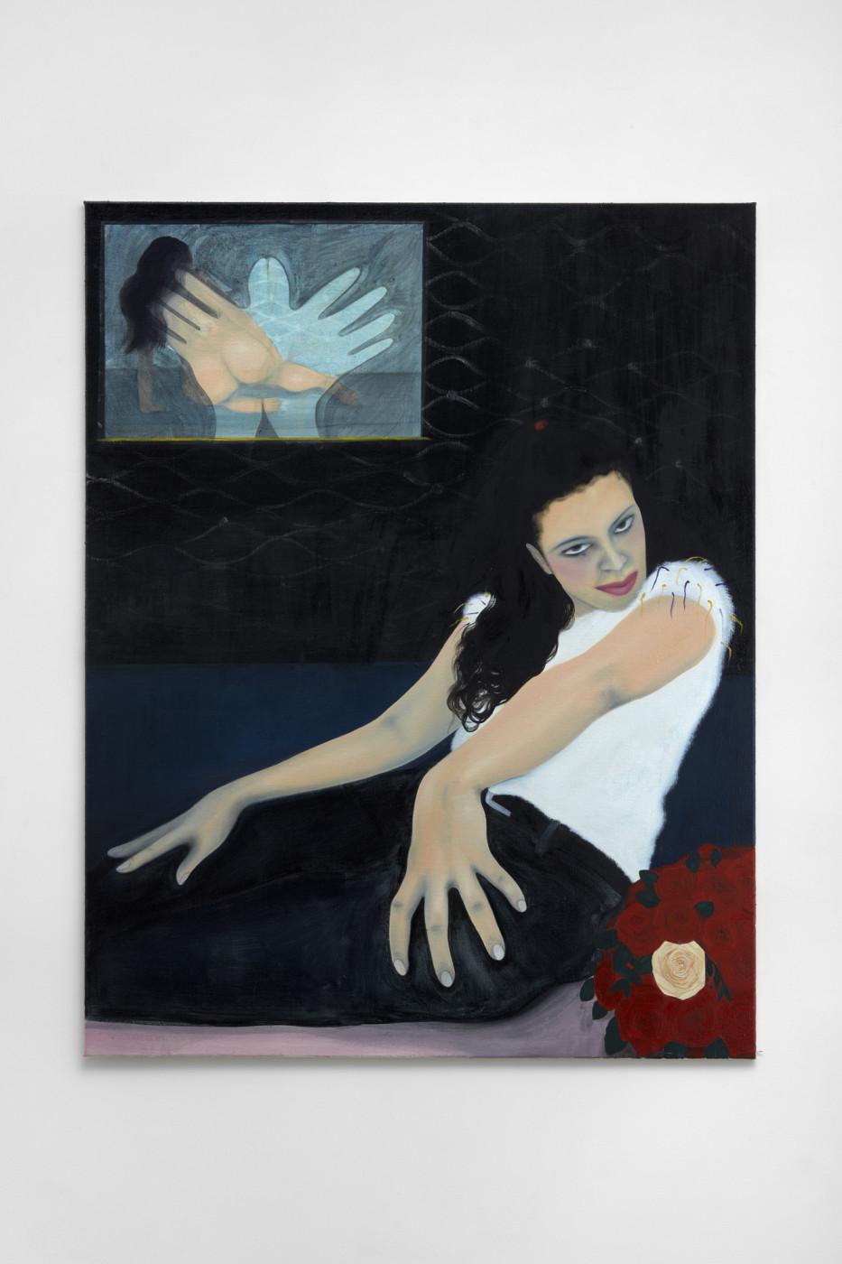 "<div class=""title""><em>From the black into the blue</em>, 2018</div><div class=""medium"">oil and acrylic on burlap</div><div class=""dimensions"">160 x 124 cm / 63 x 48 ⅞ in<br />Photo: Robert Glowacki</div>"