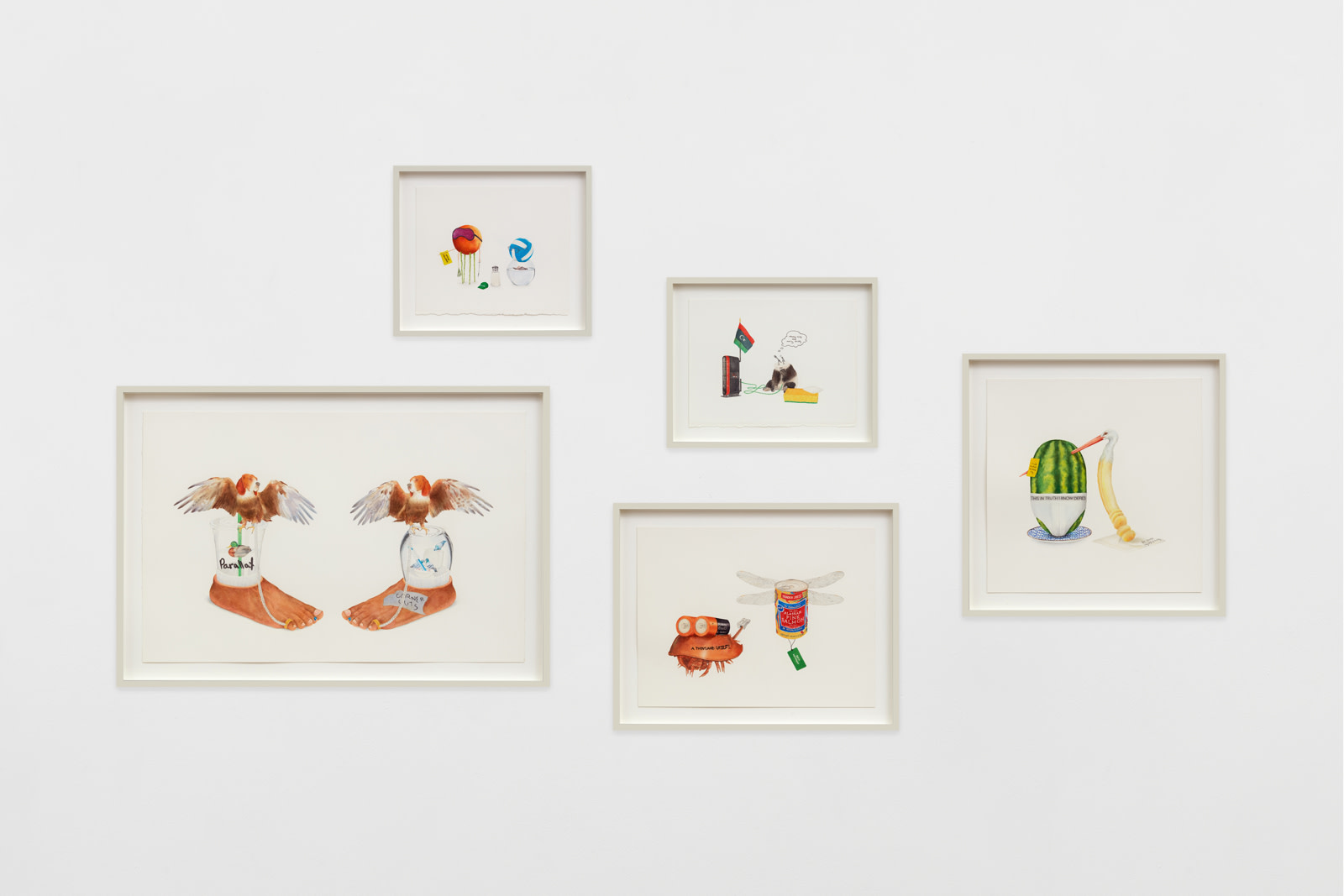 "<div class=""artwork_caption""><p><i>Scott Mendes, Star Alliance Suite #2</i></p><p>watercolour and graphite on paper</p><p>5 framed drawings, clockwise:<br />38 x 44.1 x 3.8 cm / 15 x 17 ⅜ x 1 ½ in<br />38 x 47.6 x 3.8 cm / 15 x 18 ¾ x 1 ½ in<br />53.5 x 53.5 x 3.8 cm / 21 ⅛ x 21 ⅛ x 1 ½ in<br />47.5 x 59.5 x 3.8 cm / 18 ¾ x 23 ⅜ x 1 ½ in<br />49.8 x 85.6 x 3.8 cm / 19 ⅝ x 33 ¾ x 1 ½ in</p></div>"