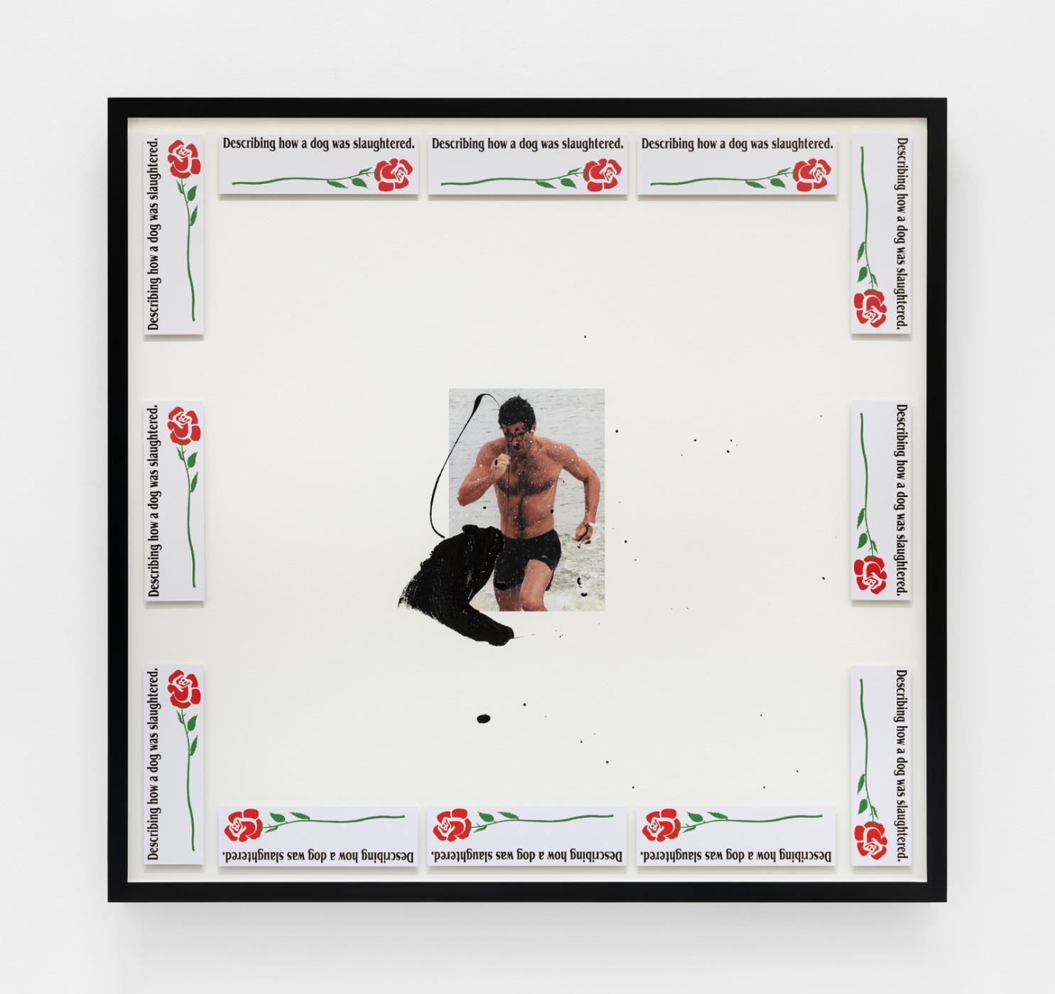 "<div class=""artwork_caption""><p><em>Untitled</em>, 2020</p><p>inkjet print, water based enamel, adhesive media in powder coated aluminium frame</p><p>site size: 96.5 x 102 cm / 38 x 40 in<br />frame size: 101.8 x 106.8 x 7.8 cm / 40 ⅛ x 42 ⅛ x 3 ⅛ in</p></div>"