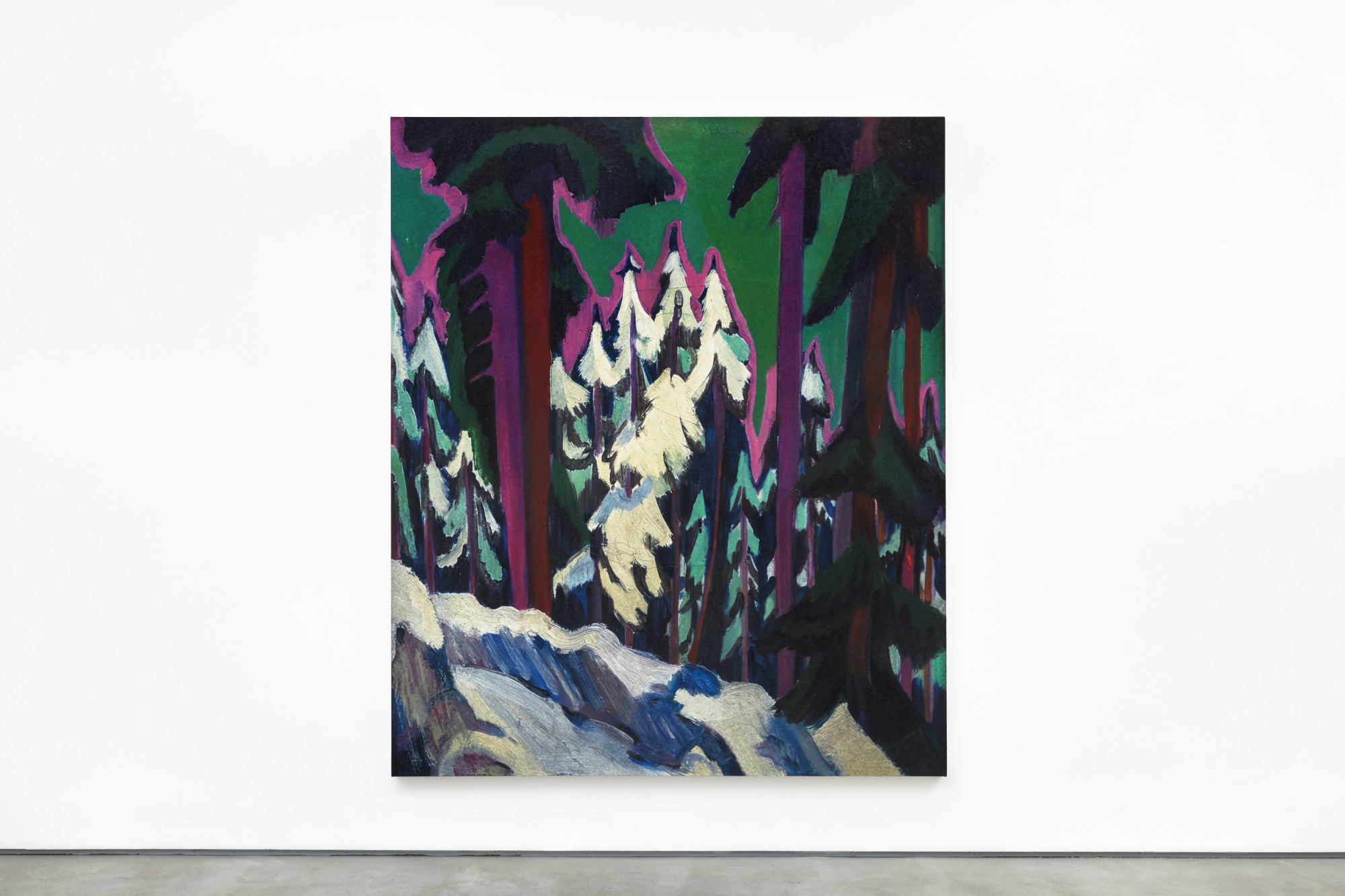 "<div class=""artwork_caption""><div class=""title""><i>Kirchner Wald im Winter 1925,</i>2019</div><div class=""medium"">oil on canvas</div><div class=""dimensions"">242.3 x 203 x 5.8 cm / 95 3/8 x 79 7/8 x 2 1/4 in</div></div><div class=""link""><span class=""website_contact_form"" data-contact-form-details=""Kirchner Wald im Winter 1925, 2019  oil on canvas  242.3 x 203 x 5.8 cm / 95 3/8 x 79 7/8 x 2 1/4 in"" data-contact-form-image=""https://artlogic-res.cloudinary.com/w_200,h_200,c_fill,f_auto,fl_lossy/ws-sadiecoles/usr/exhibitions/images/exhibitions/854/hq24-rs17209p_wald_im_winter_1.jpg"">Enquire</span></div>"
