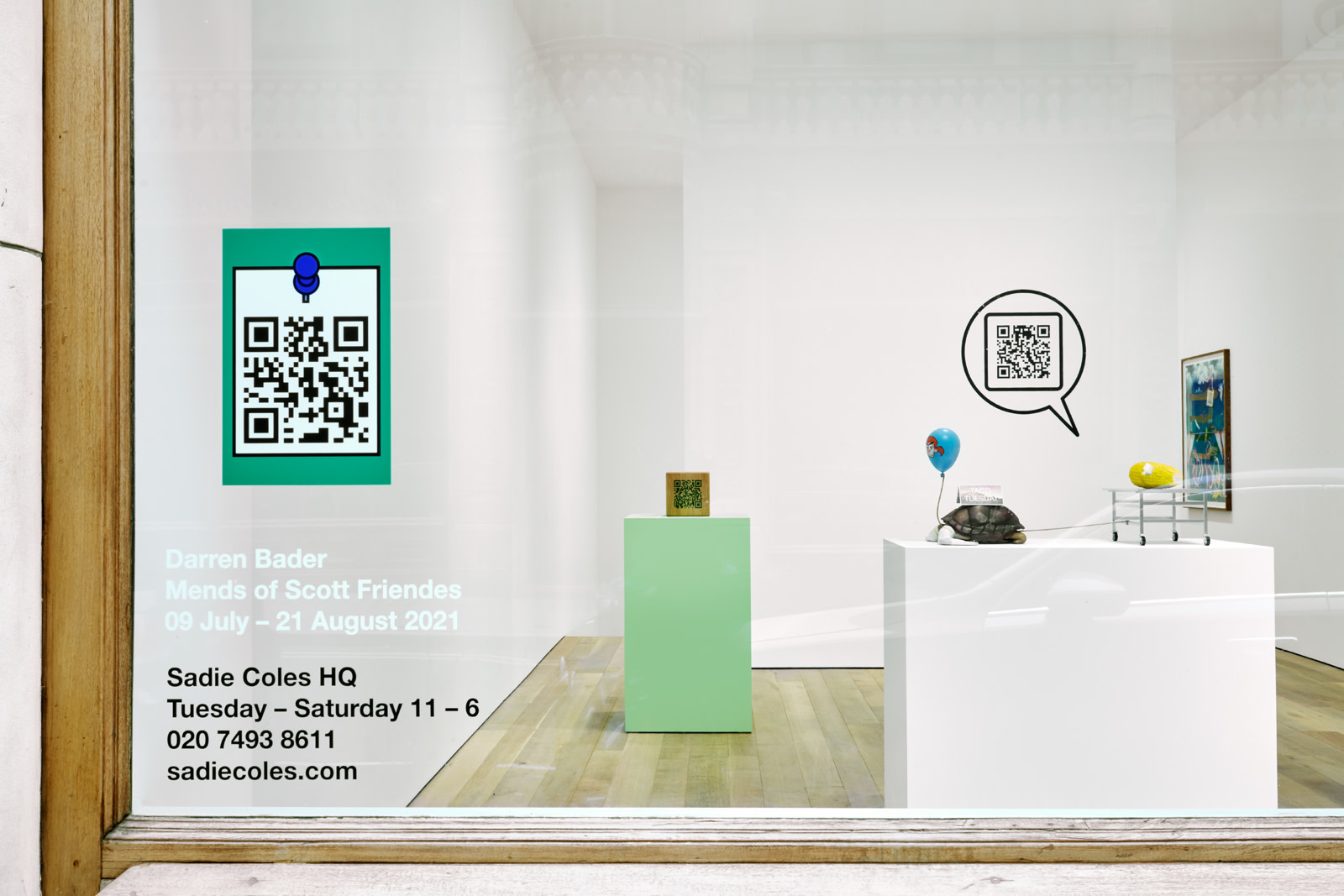 "<div class=""artwork_caption""><p class=""p1"">Installation view,Darren Bader,<i>Mends of Scott Friendes</i>, Sadie Coles HQ, 8 Bury Street SW1Y, 9 July - 21 August 2021</p><p class=""p1"">Photography byRobert Glowacki</p></div>"