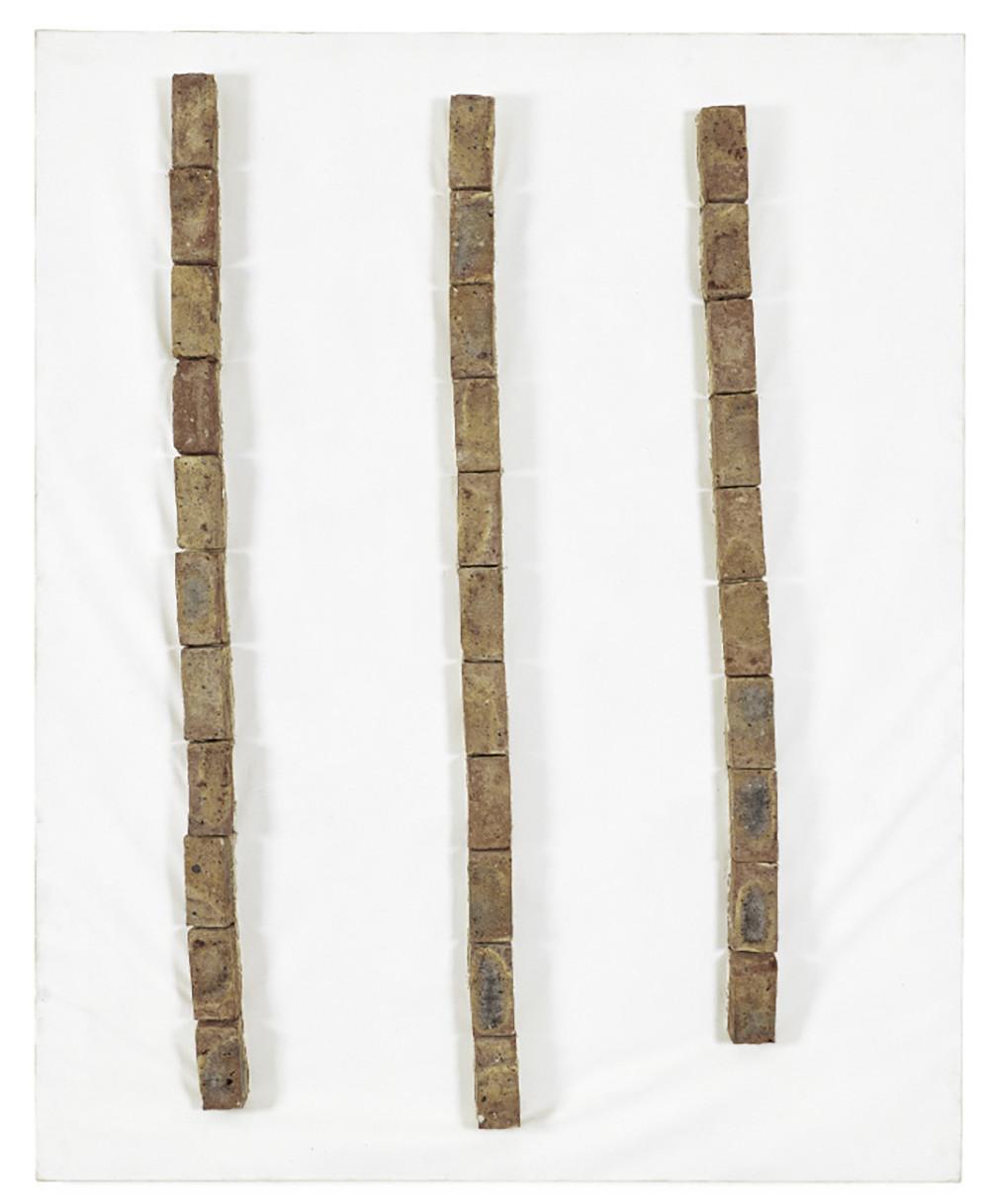 """<style type=""""text/css""""></style><p><em>Untitled</em>,1990</p><p>bricks on canvas, dispersion paint</p><p>260 x 210 cm</p>"""