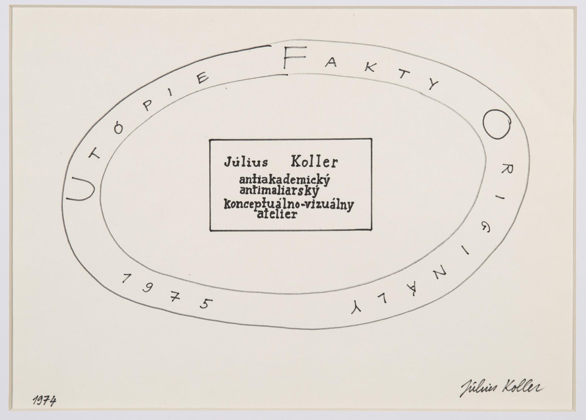 "<span class=""link fancybox-details-link""><a href=""/artists/155-julius-koller/works/10139/"">View Detail Page</a></span><div class=""artist""><span class=""artist""><strong>JULIUS KOLLER</strong></span></div><div class=""title""><em>Untitled (Utopie)</em>, 1975</div><div class=""medium"">Pen on paper</div><div class=""dimensions"">24 x 31 cm<br /> 9 ½ x 12 ¼ in</div>"