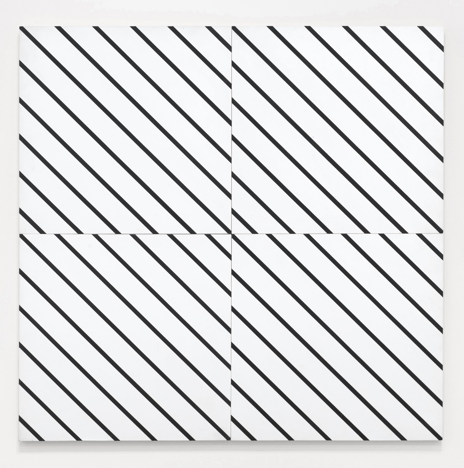 """<span class=""""link fancybox-details-link""""><a href=""""/artists/121-francois-morellet/works/10763/"""">View Detail Page</a></span><div class=""""artist""""><span class=""""artist""""><strong>FRANCOIS MORELLET</strong></span></div><div class=""""title""""><em>1 simple trame 45° coupée, décalée</em>, 1973</div><div class=""""signed_and_dated"""">Signed, titled, dated with archive number on reverse</div><div class=""""medium"""">Oil on four panels attached as one</div><div class=""""dimensions"""">80 x 80 cm<br /> 31 ½ x 31 ½ inches </div>"""