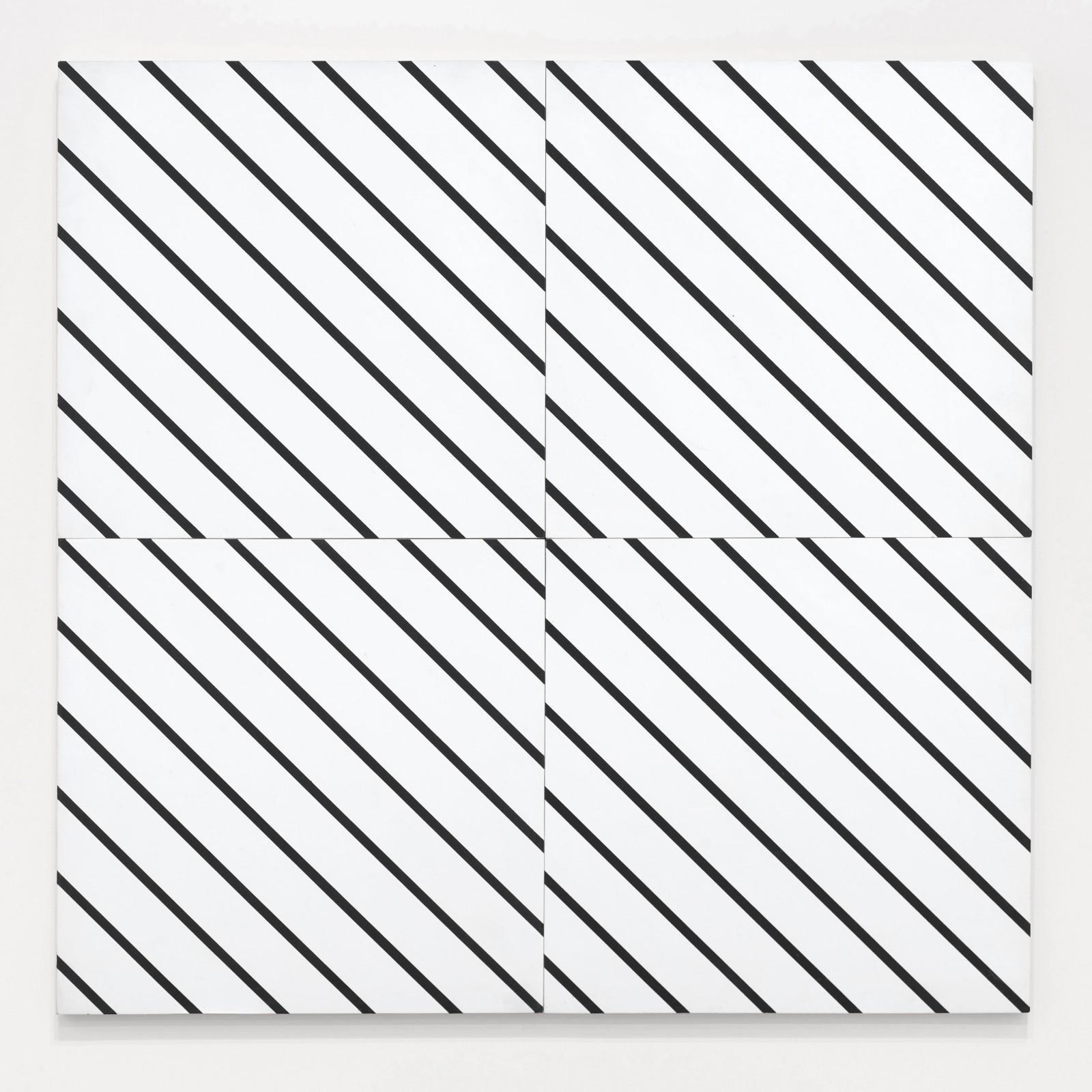 """<span class=""""link fancybox-details-link""""><a href=""""/exhibitions/554/works/artworks_standalone10763/"""">View Detail Page</a></span><div class=""""artist""""><span class=""""artist""""><strong>FRANCOIS MORELLET</strong></span></div><div class=""""title""""><em>1 simple trame 45° coupée, décalée</em>, 1973</div><div class=""""medium"""">Oil on four panels attached as one</div><div class=""""dimensions"""">80 x 80 cm<br />31 ½ x 31 ½ inches</div>"""