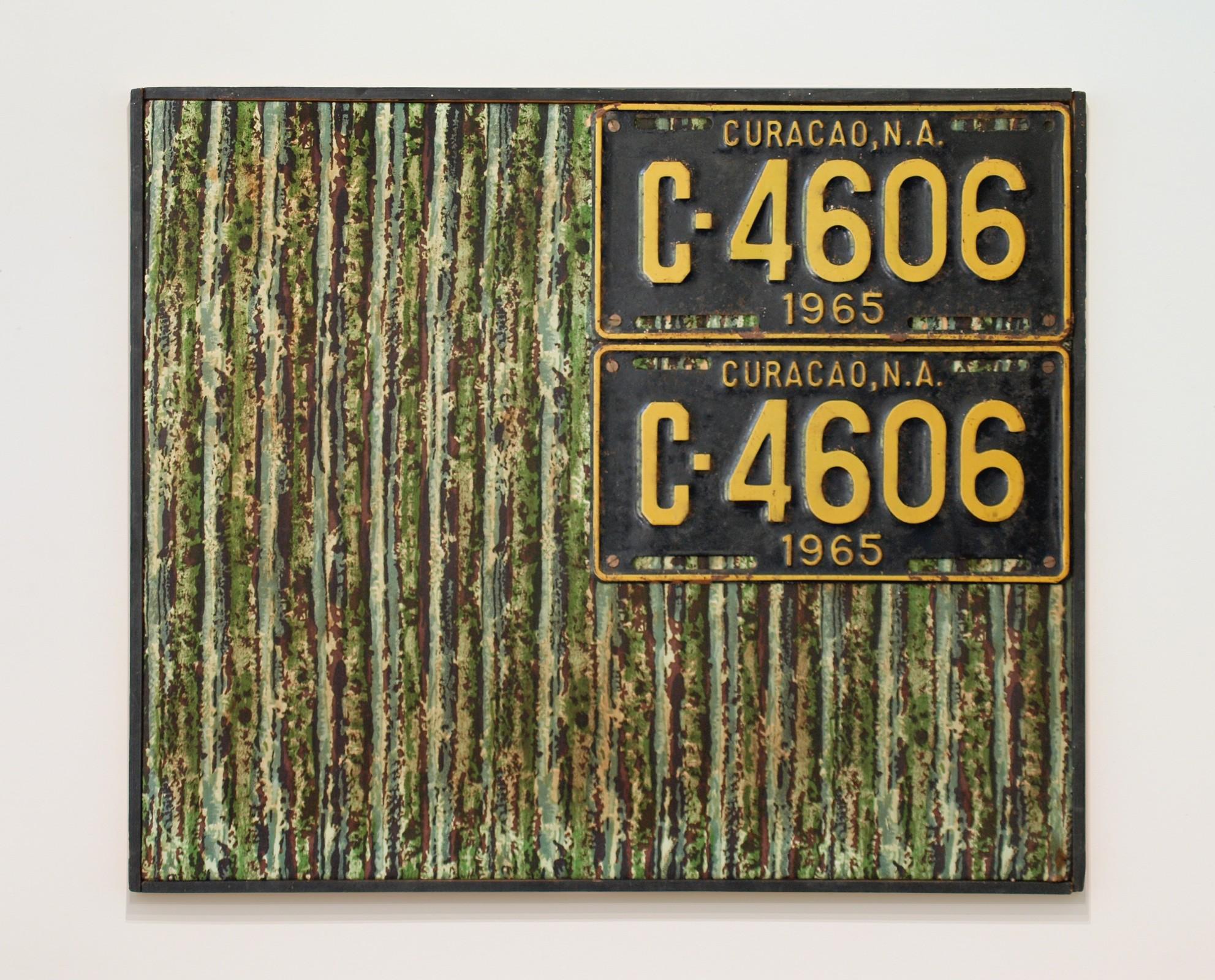 "<span class=""link fancybox-details-link""><a href=""/exhibitions/555/works/artworks_standalone11045/"">View Detail Page</a></span><div class=""artist""><span class=""artist""><strong>JAN HENDERIKSE</strong></span></div><div class=""title""><em>PP 10 A</em>, 1968</div><div class=""medium"">License plates on fabric on panel</div><div class=""dimensions""><div class=""dimensions"">19 3/4 x 23 3/4 inches</div><div class=""dimensions"">(50 x 60 cm)</div></div>"