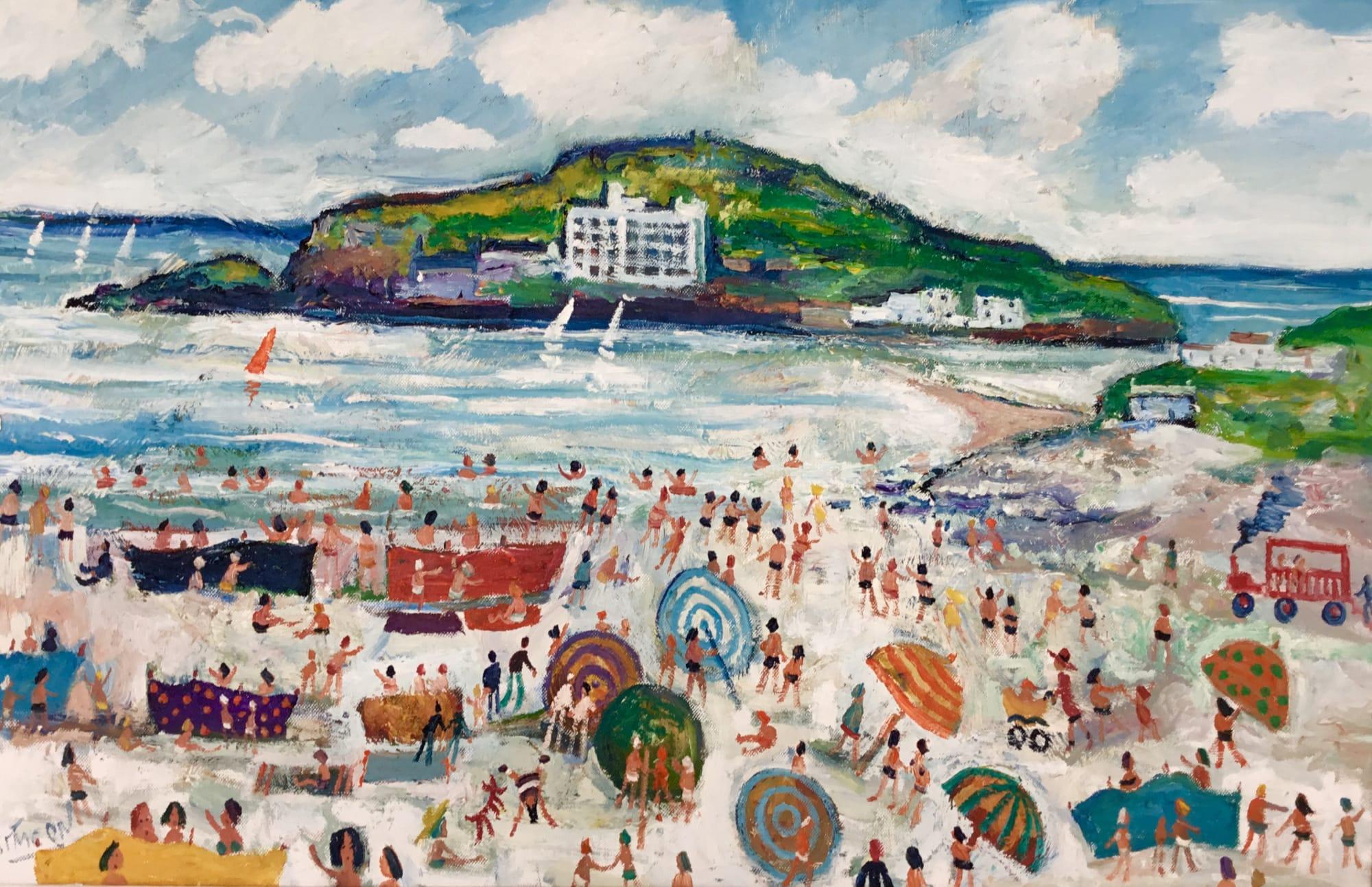 summer fun on Bantham beach towards Burgh Island