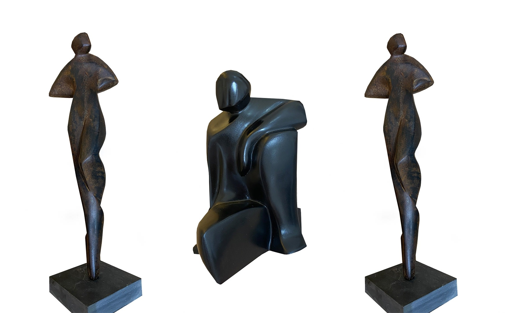 New work by Sally Grant : The sculptures are expressionistic, semi abstract figures and heads. Each piece starts with a clay model allowing a spontaneous fluid form to be captured, which is, after various stages of refinement, cast into bronze or resin.