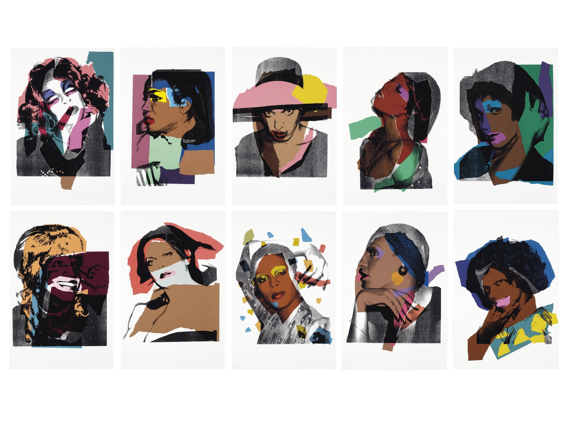 Ladies and Gentlemen II.128 - II.137, 1975, by Andy Warhol, Portfolio of Ten Screenprints, edition 125 at Coskun Fine Art